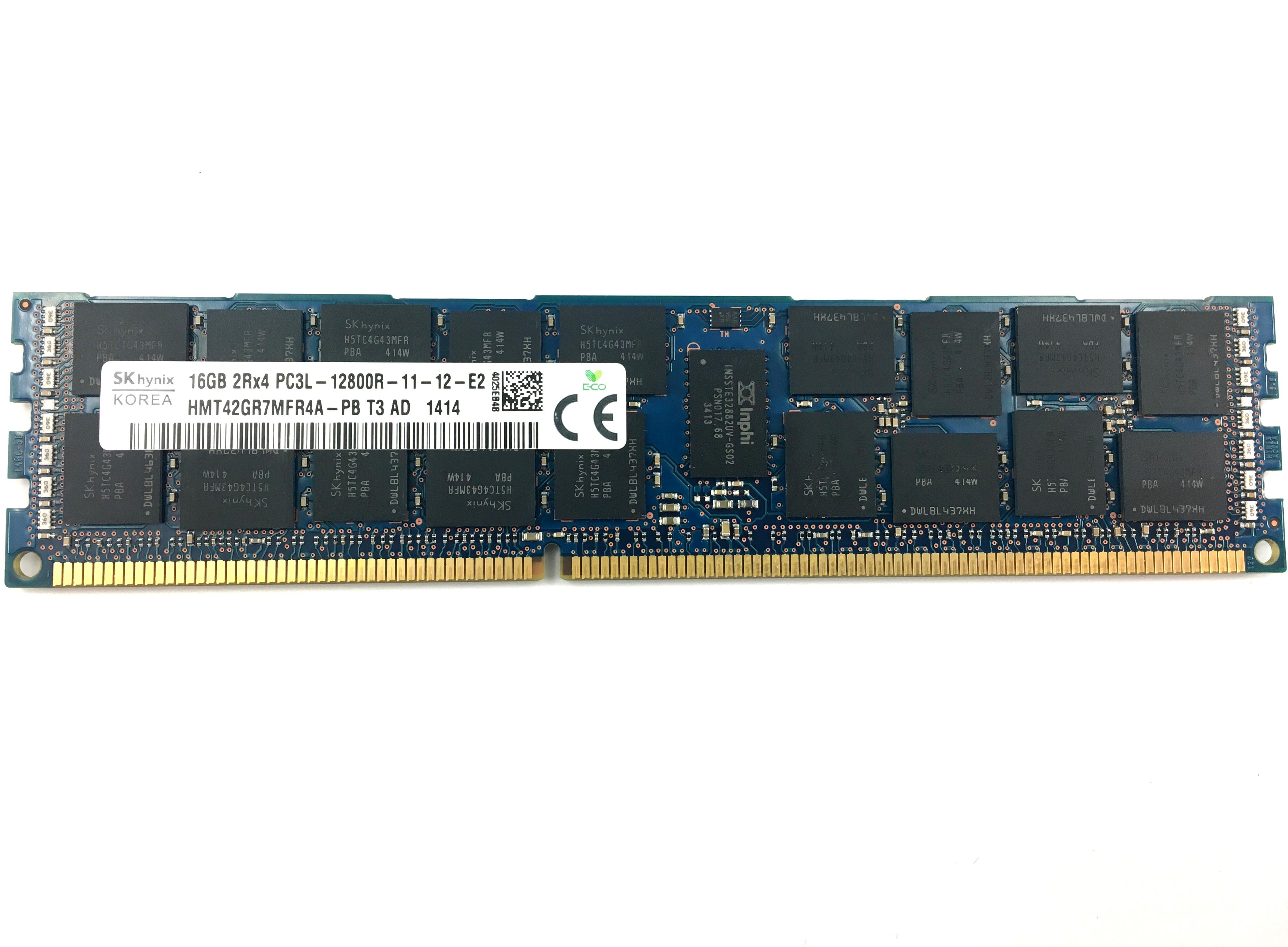 Hynix 16GB 2Rx4 PC3L-12800R DDR3 1600MHz ECC Registered Memory Module (HMT42GR7MFR4A-PB)