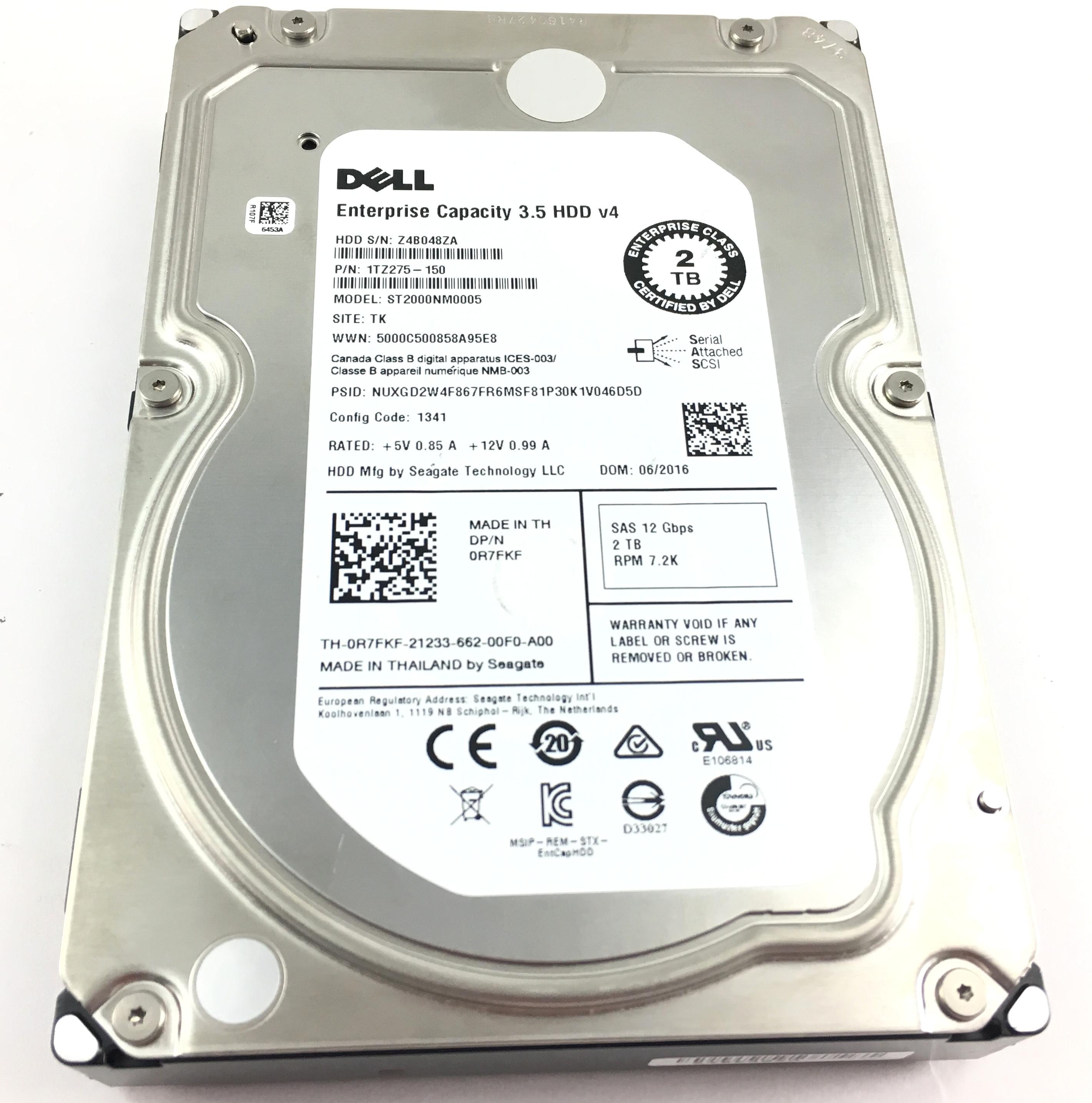Dell 2TB 7.2K RPM 12Gb/s SAS 3.5'' V4 Enterprise  Hard Drive (R7FKF)