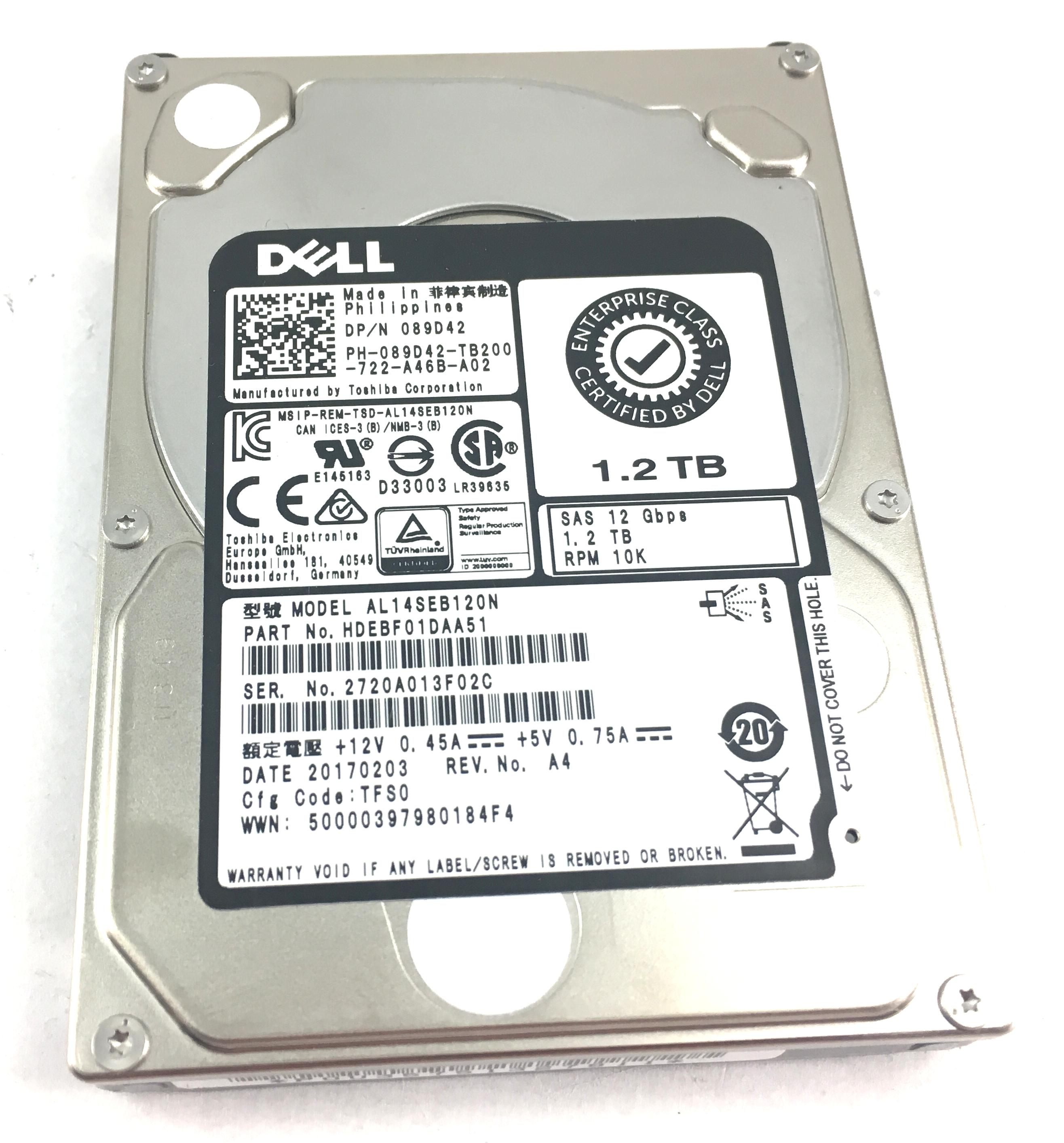 Dell Enterprise 1.2TB 10K 12Gbps SAS 2.5'' Hard Drive (89D42)