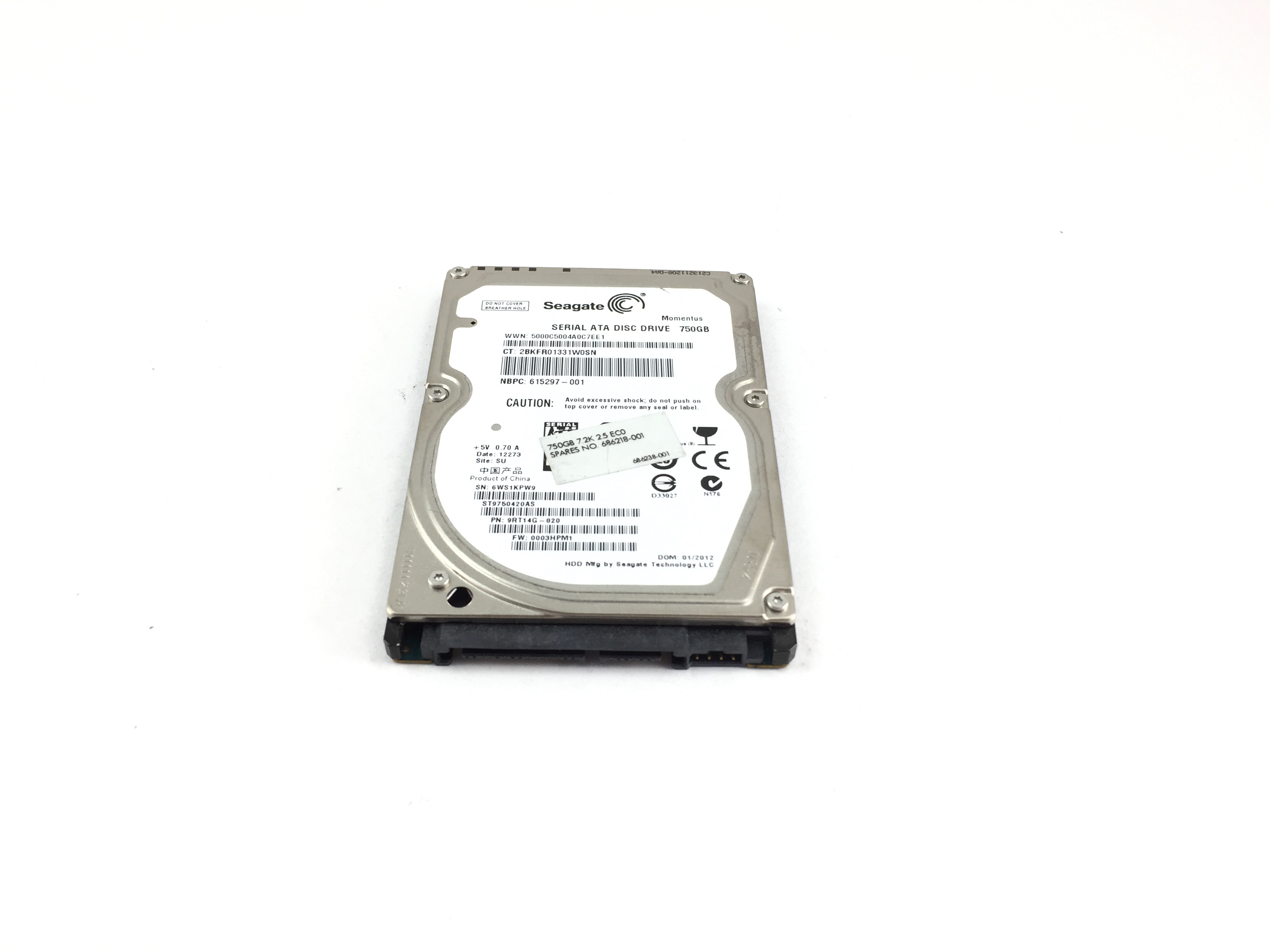 HP 750Gb 7200RPM SATA 2.5'' Hard Drive (686218-001)