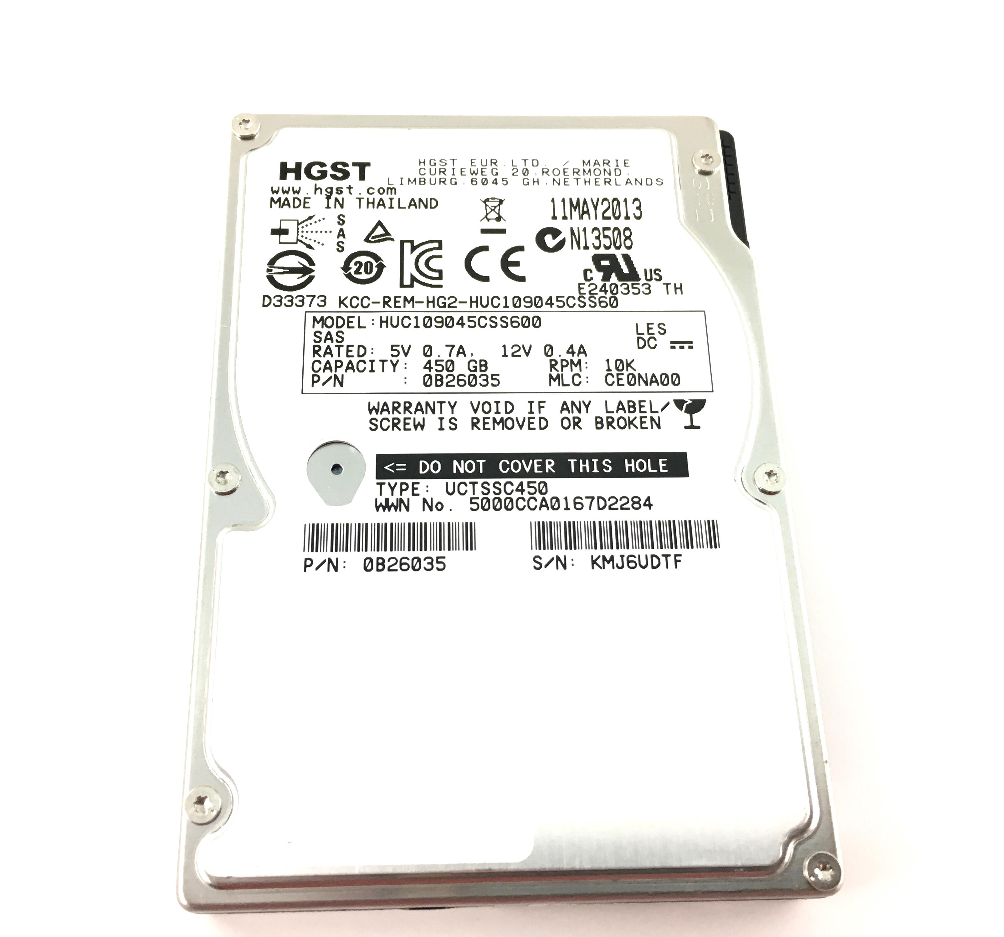 Hitachi 450GB 10K 6Gbps SAS 2.5'' Hard Drive (HUC109045CSS600)