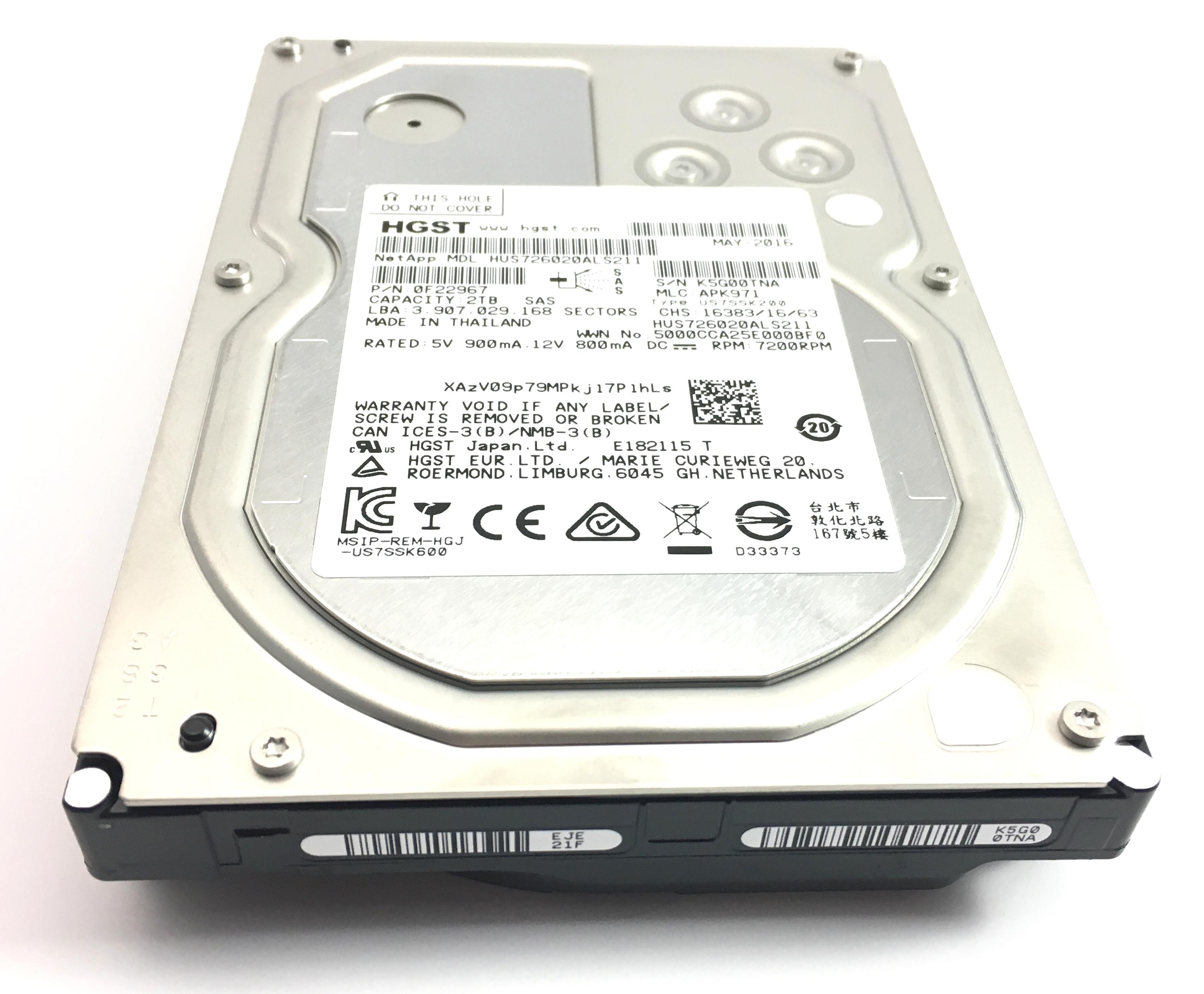 HGST ULTRASTAR NETAPP 2TB 7.2K SAS 3.5'' HARD DRIVE (HUS726020ALS211)