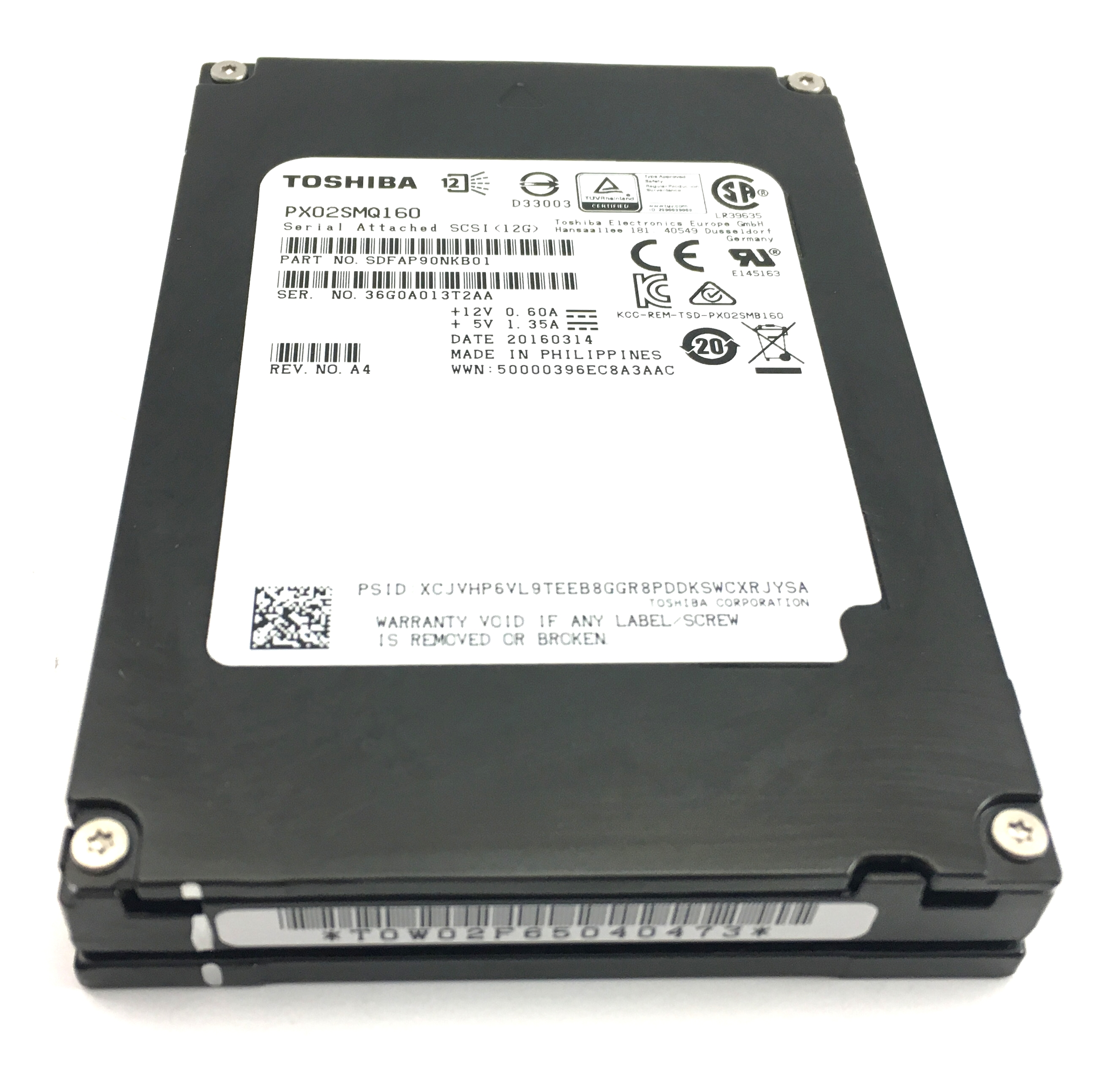 Toshiba Px02Sm Series 1.6TB 12Gbps SAS 2.5'' Solid State Drive SSD (SDFAP90NKB01)
