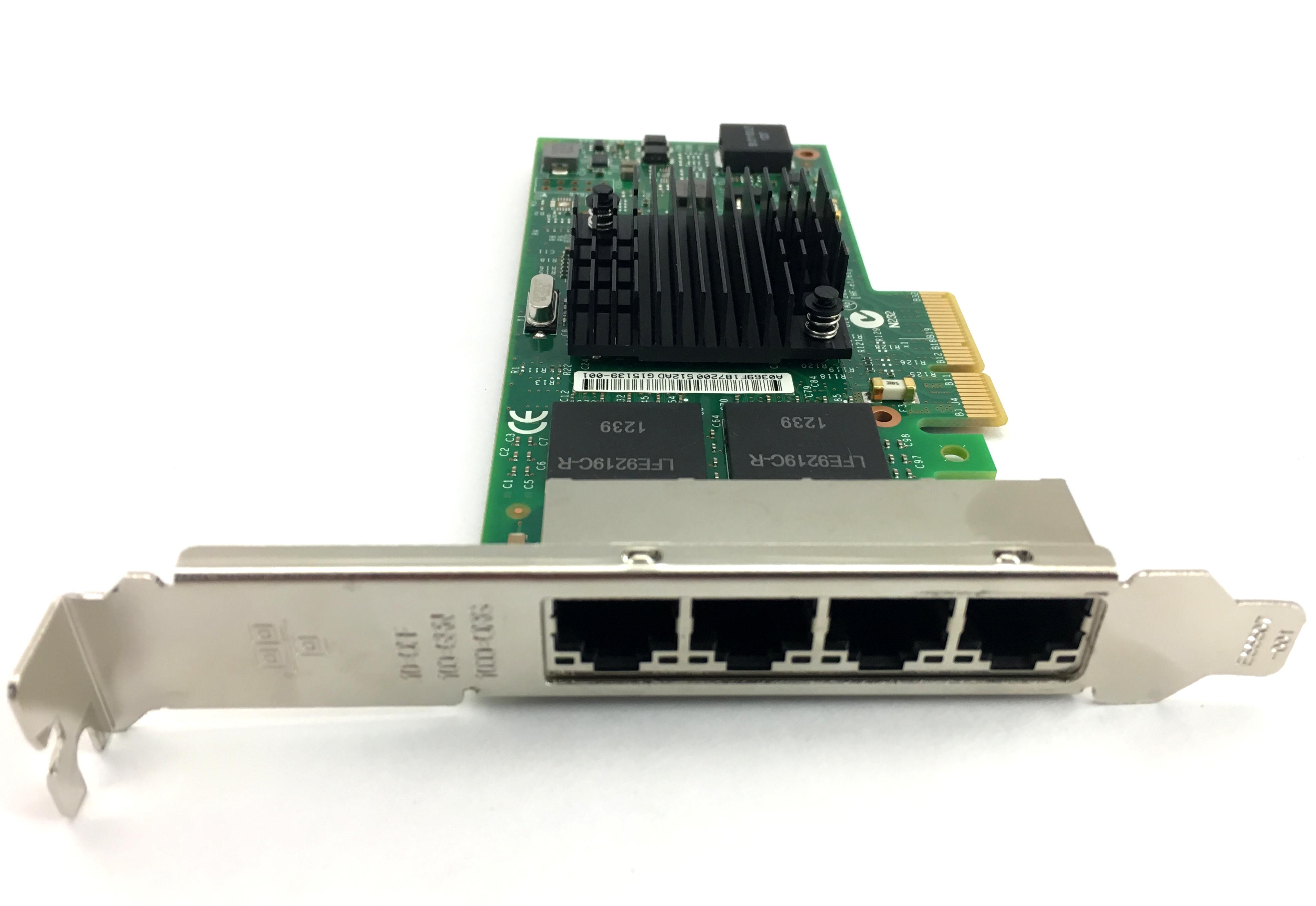 Original Intel I350-T4 4x RJ45 Ethernet Network Adapter NIC with Hologram (I350T4BLK)