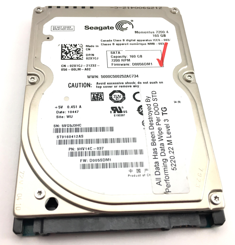 Dell Seagate Momentus 160Gb 7.2K SATA 2.5'' SFF Hard Drive (2X1CJ)