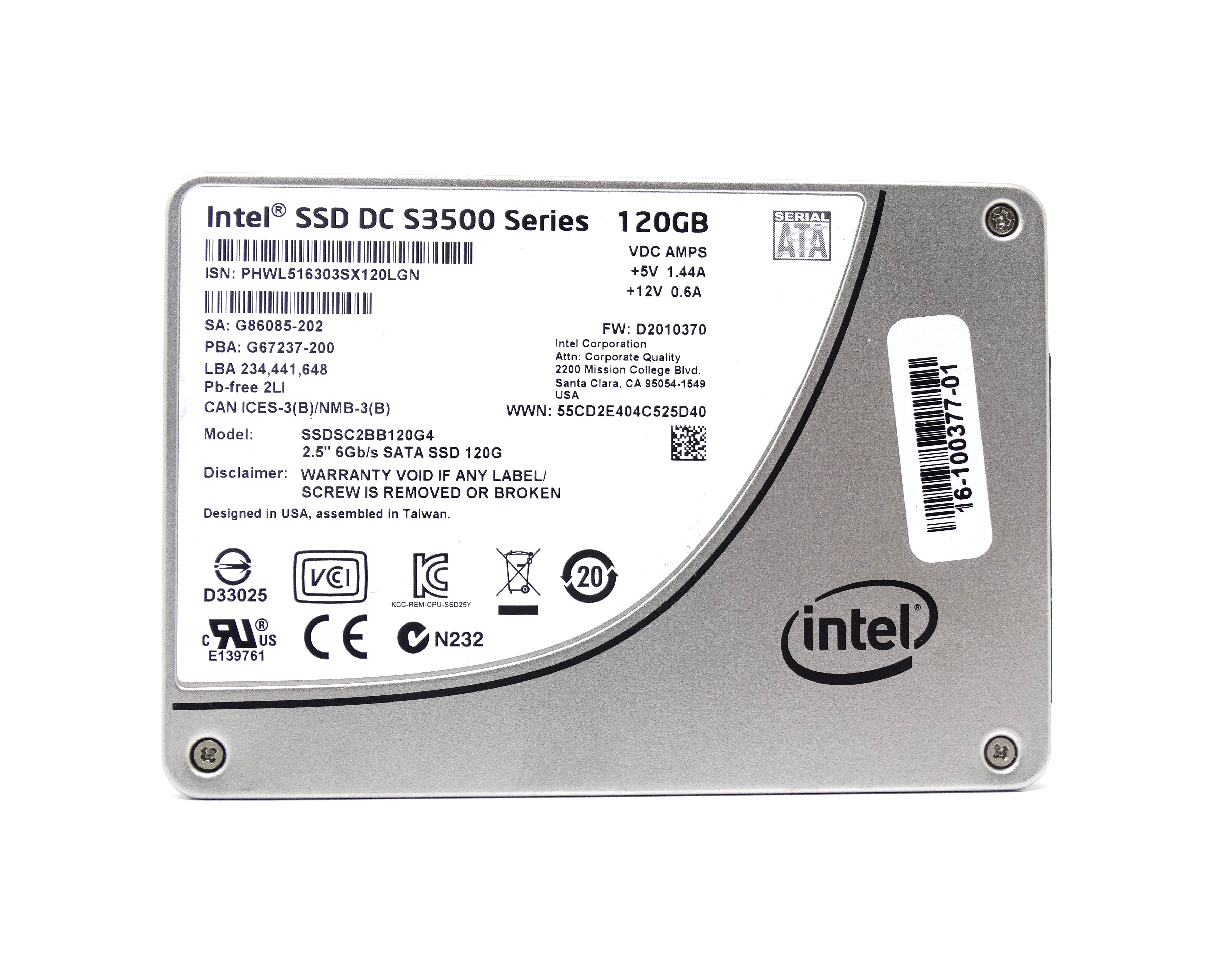 Cisco Intel SSD Dc S3500 120GB 6Gbps SATA 2.5'' Solid State Drive (SSDSC2BB120G4)