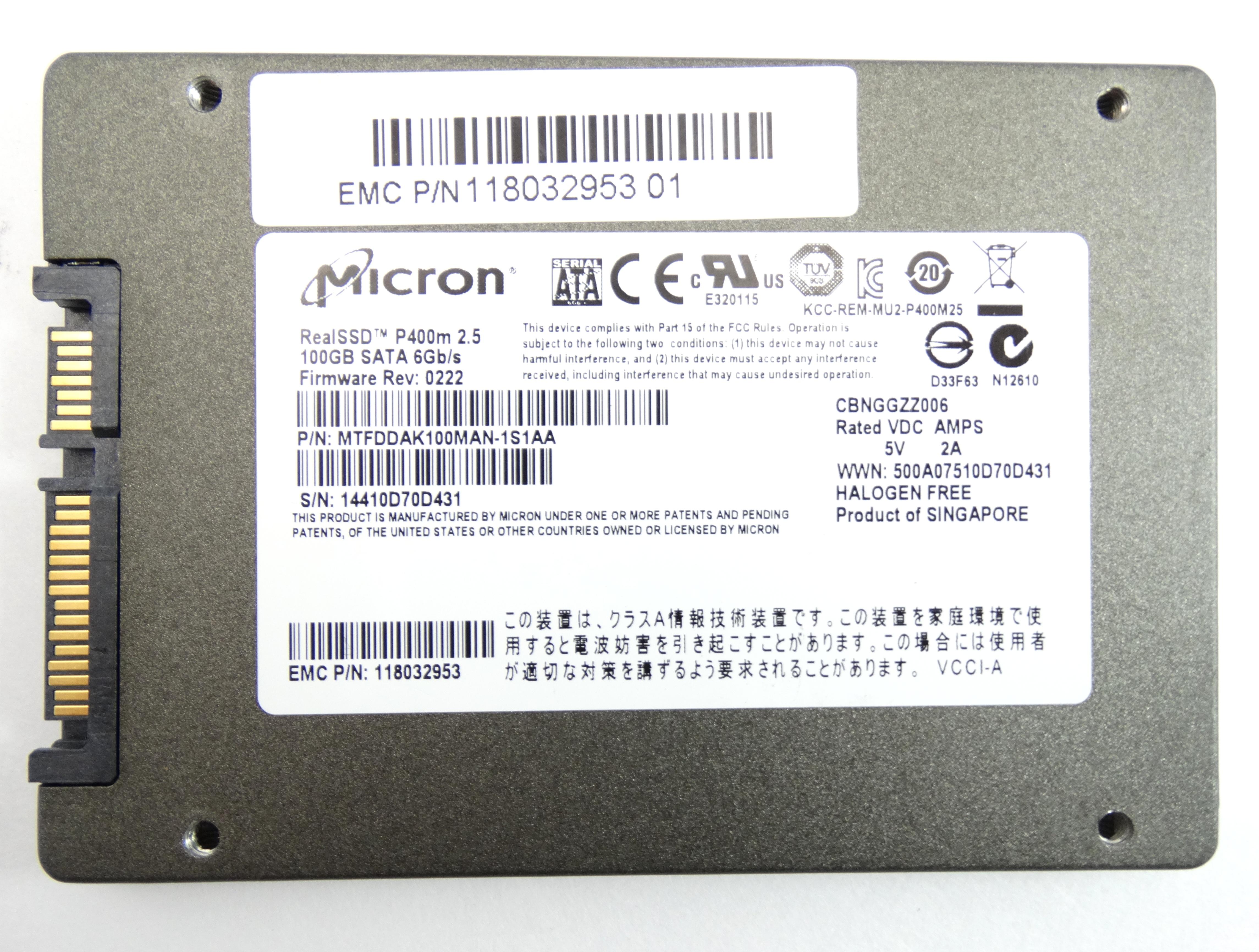 MICRON REAL SSD P400M 100GB 6GBPS SATA 2.5'' SOLID STATE DRIVE (MTFDDAK100MAN)