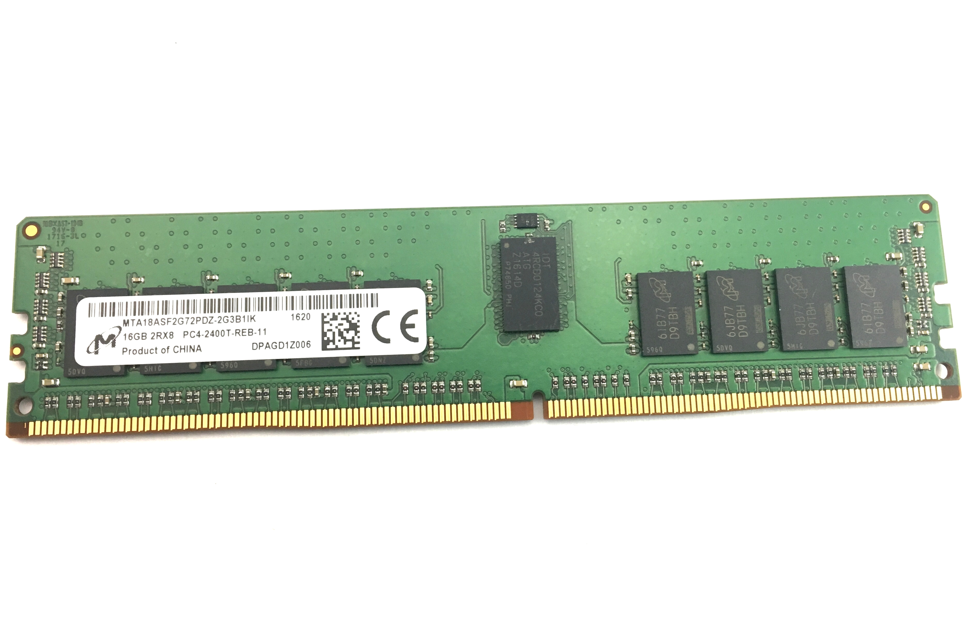 Micron 16GB 2Rx8 PC4-19200 DDR4-2400MHz ECC Registered Memory (MTA18ASF2G72PDZ-2G3B1)