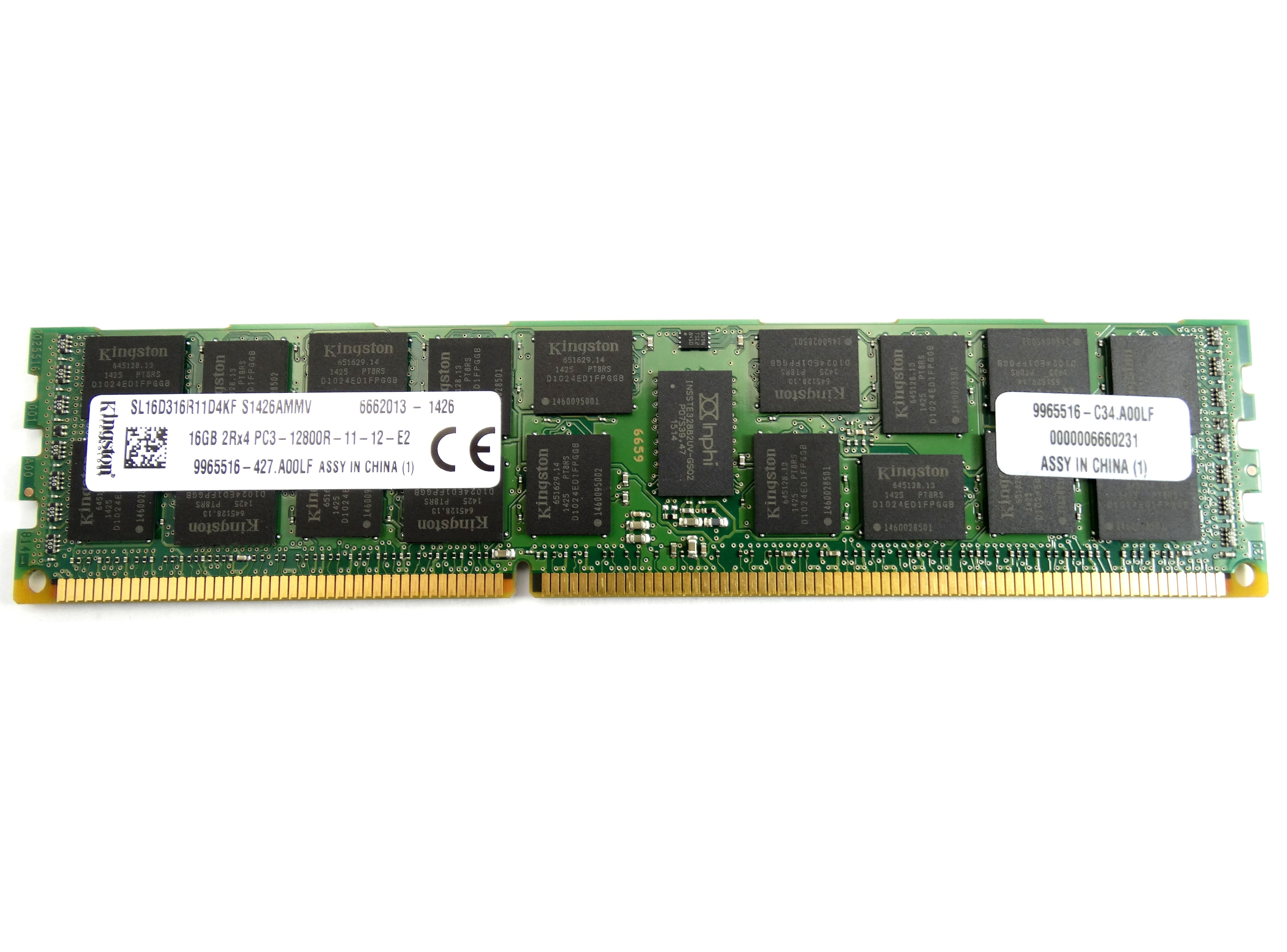 KINGSTON 16GB 2RX4 PC3-12800R DDR3 1600MHZ DUAL RANK ECC REGISTERED MEMORY (9965516-427.A00LF)