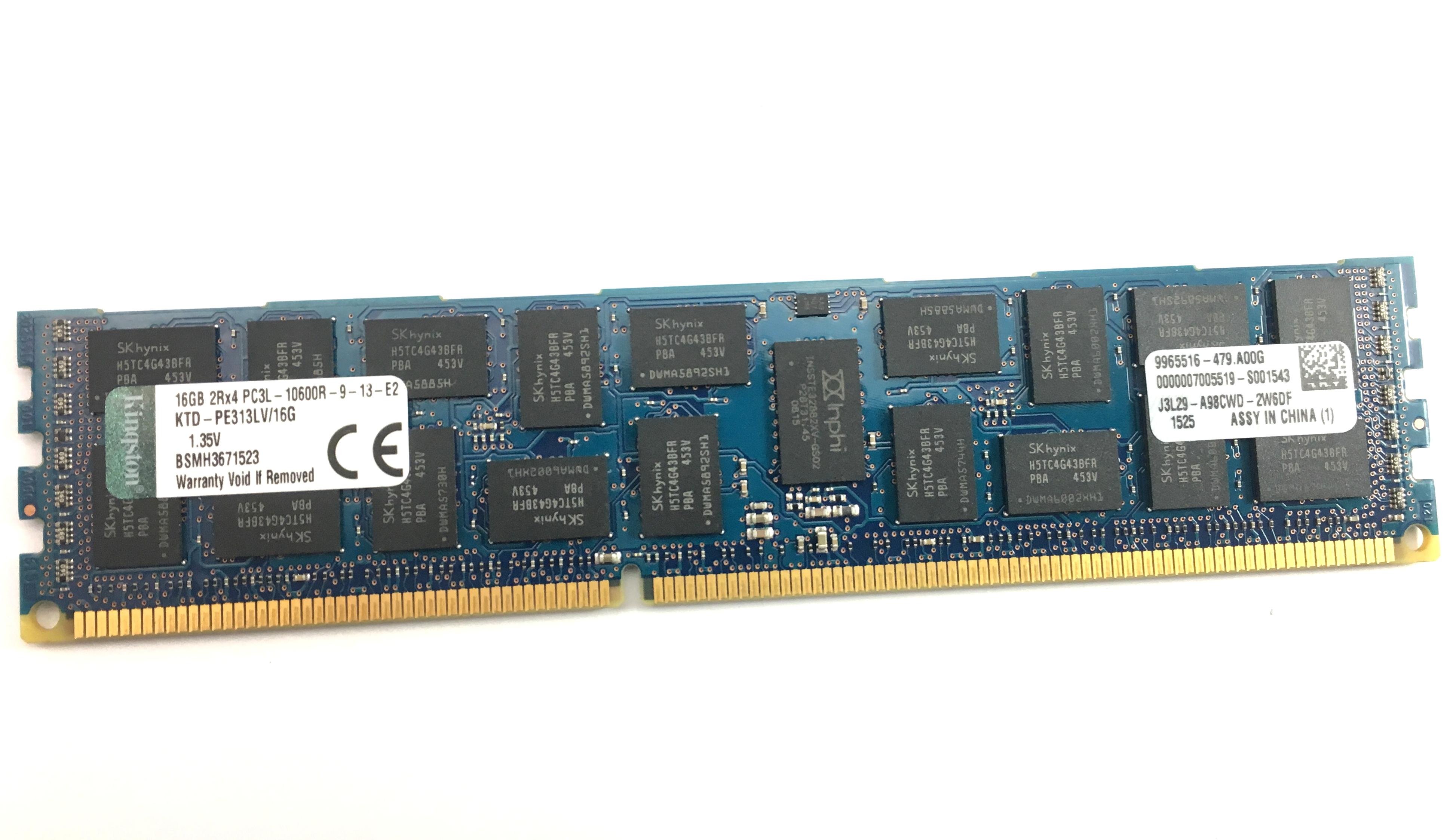 Kingston 16GB 2Rx4 PC3L-10600R DDR3 1333MHz ECC REGD Memory (KTD-PE313LV/16G)