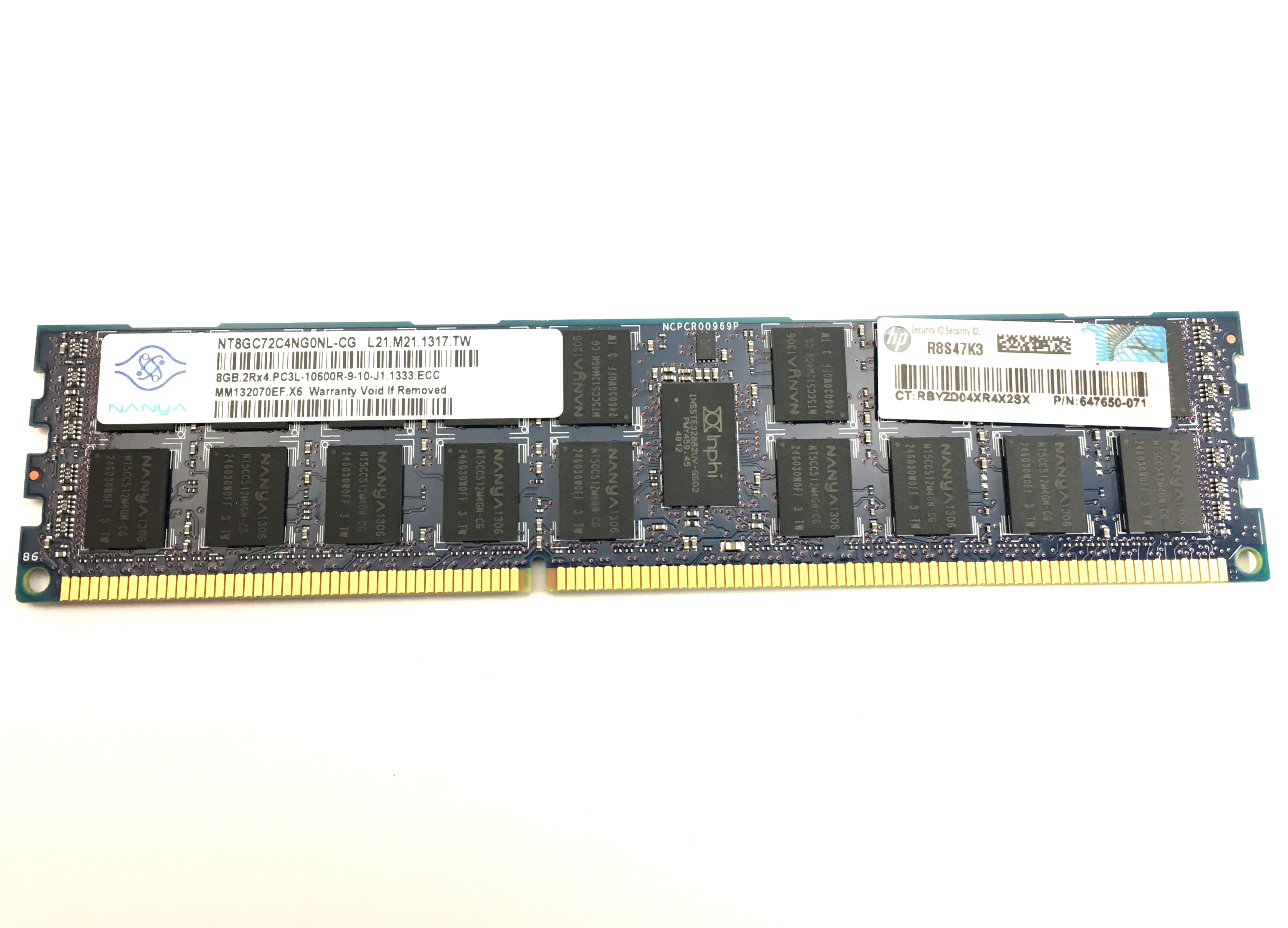 HP 8GB 2RX4 PC3L 10600R DDR3 1333MHZ ECC REG MEMORY (647650-071)
