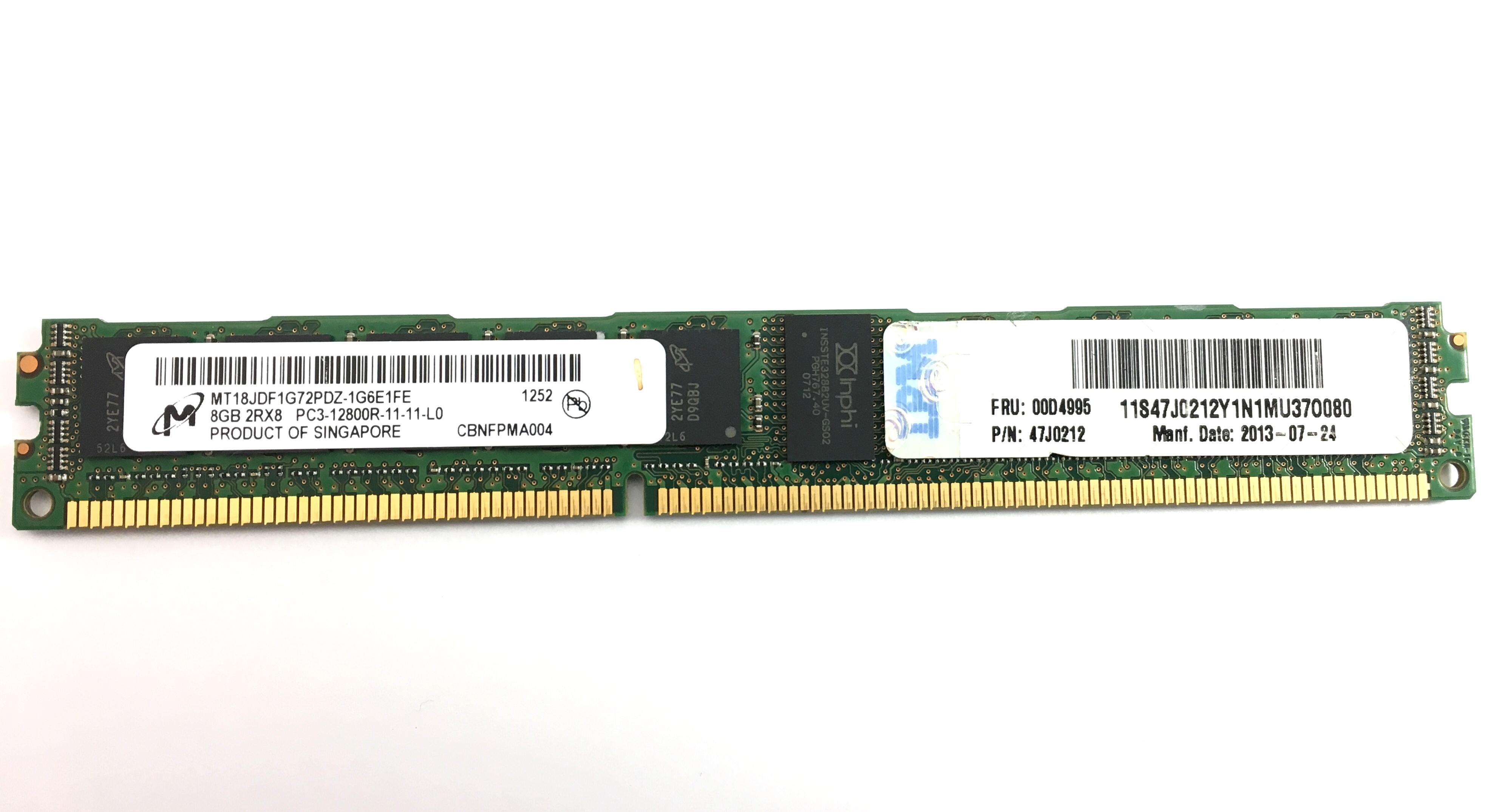 IBM 8GB 2Rx8 PC3 12800R DDR3 1600MHz ECC REG Vlp Memory (00D4995)