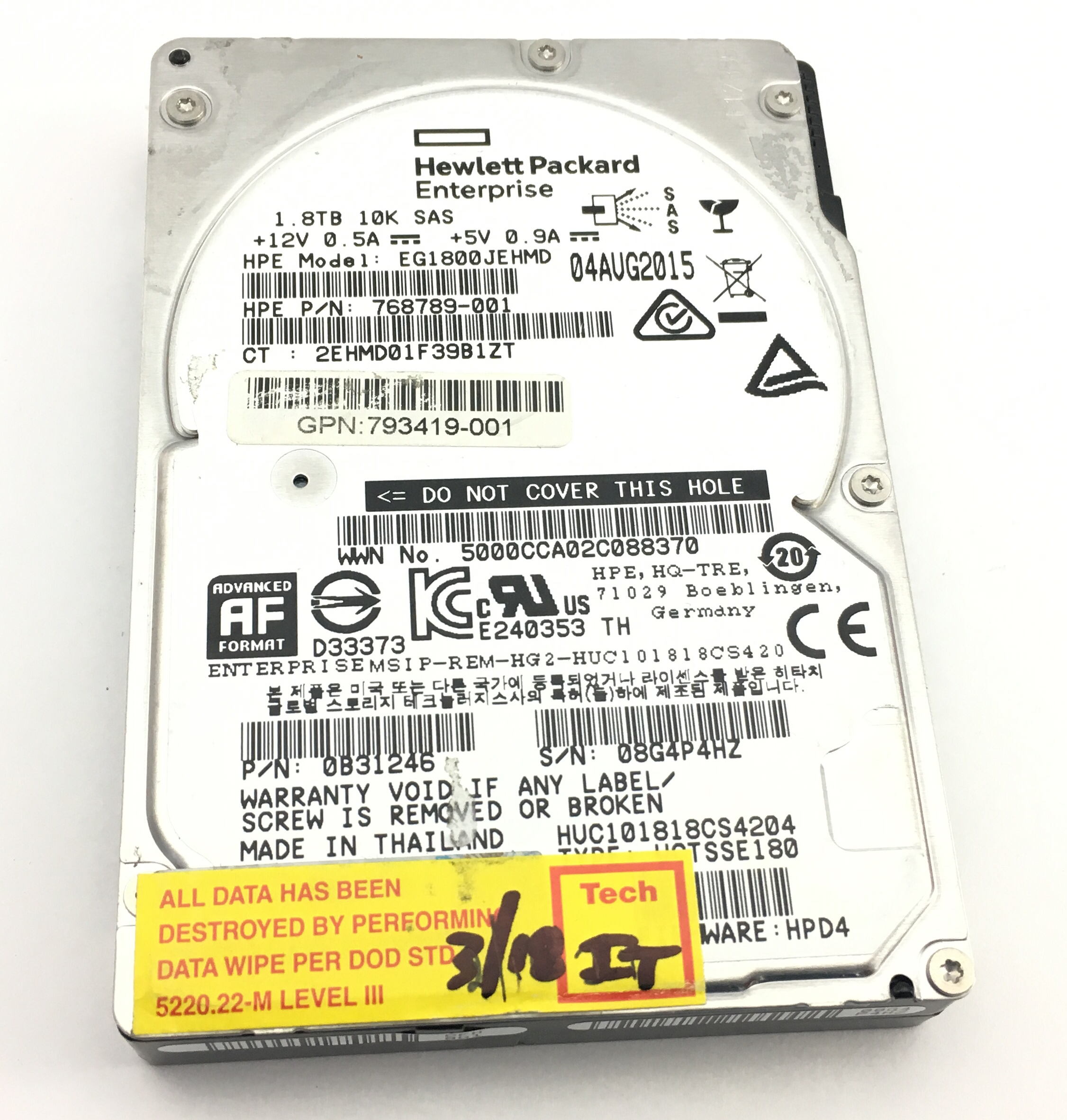 HP 1.8TB 10K SAS 2.5'' HDD Hard Drive (768789-001)