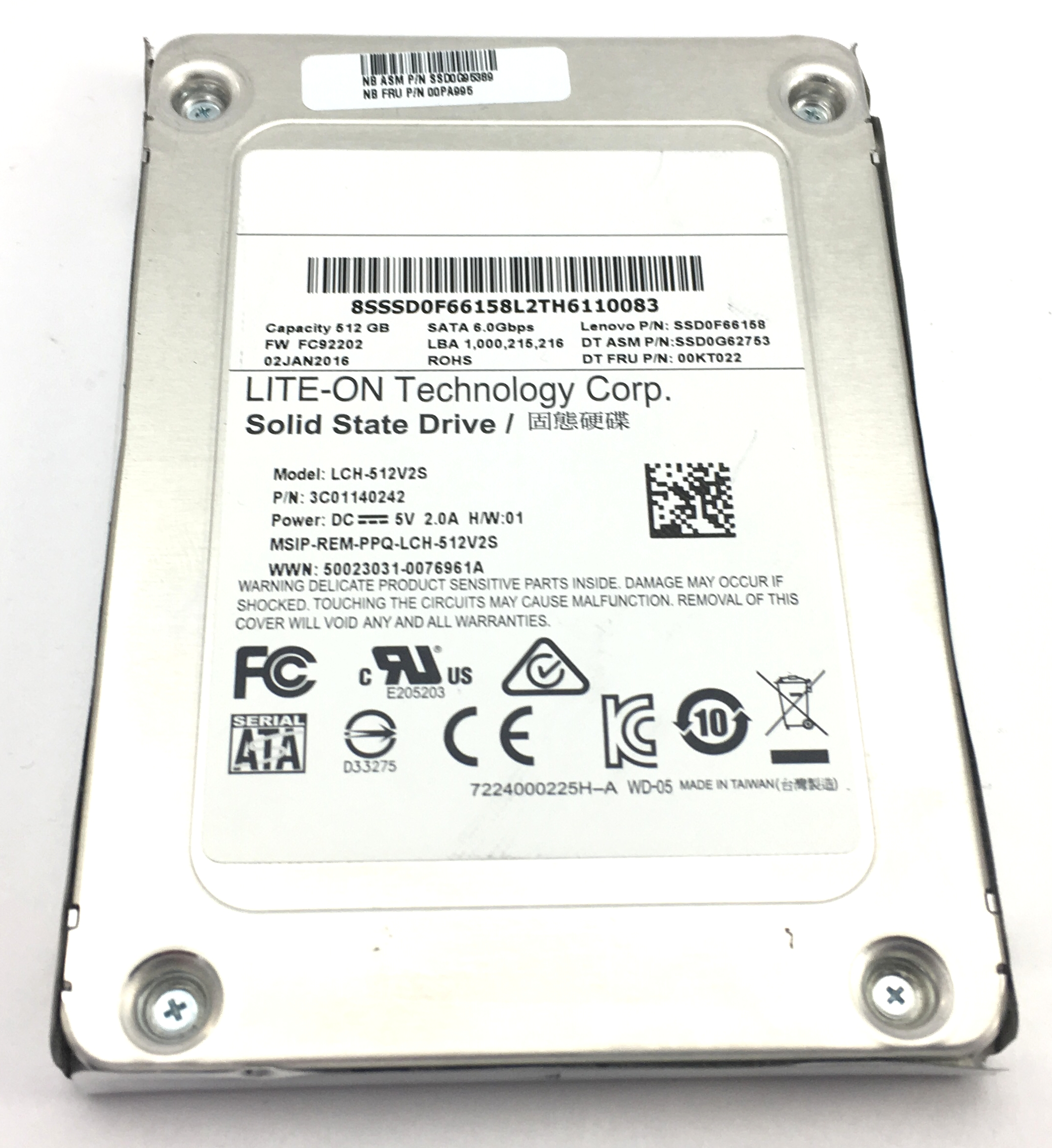LENOVO LITE-ON LCH-512V2S 512GB 6GBPS SATA 2.5'' SOLID STATE DRIVE (00KT022)