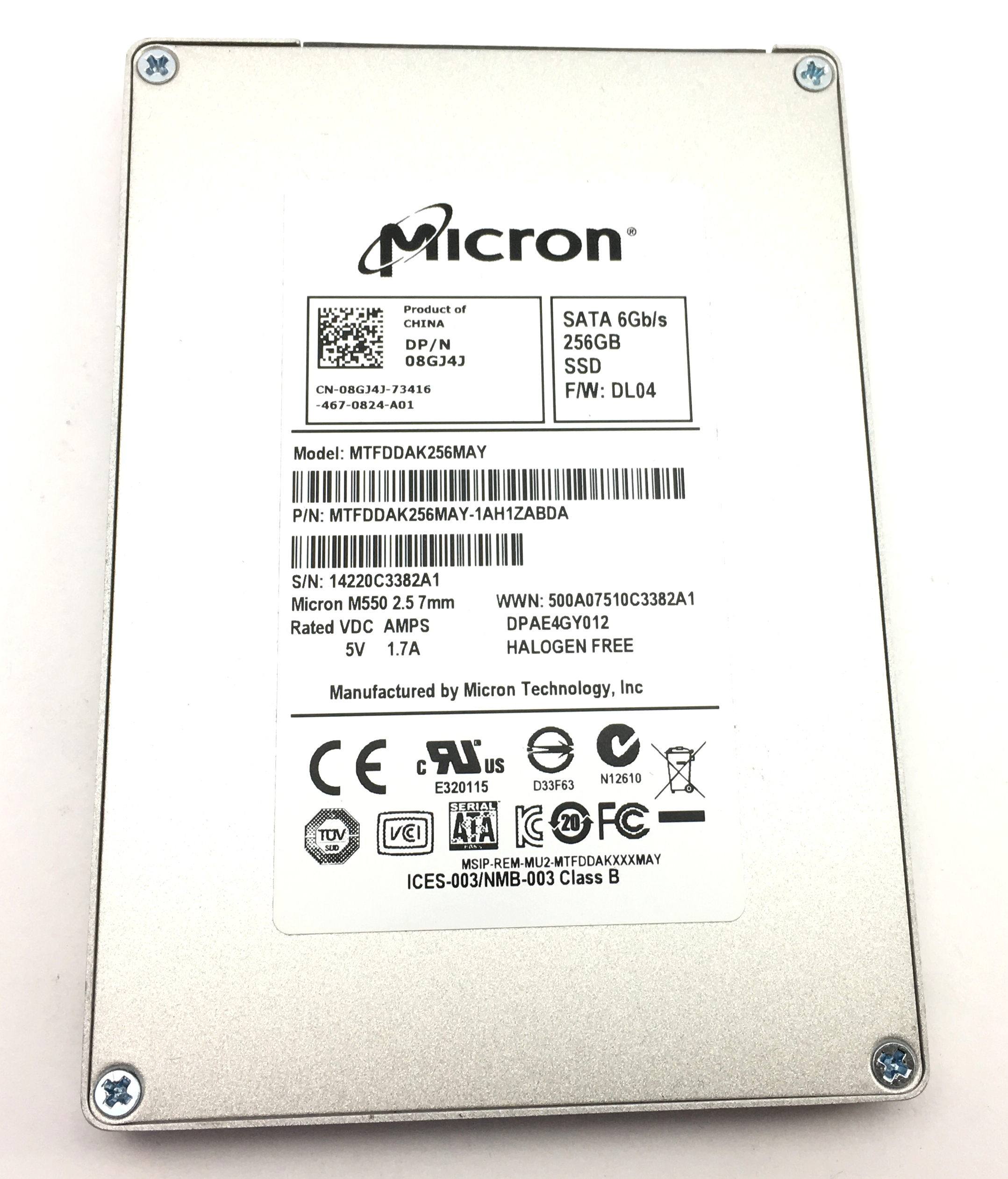 Dell Micron M550 256GB 6Gbps SATA SSD Solid State Drive (8GJ4J)