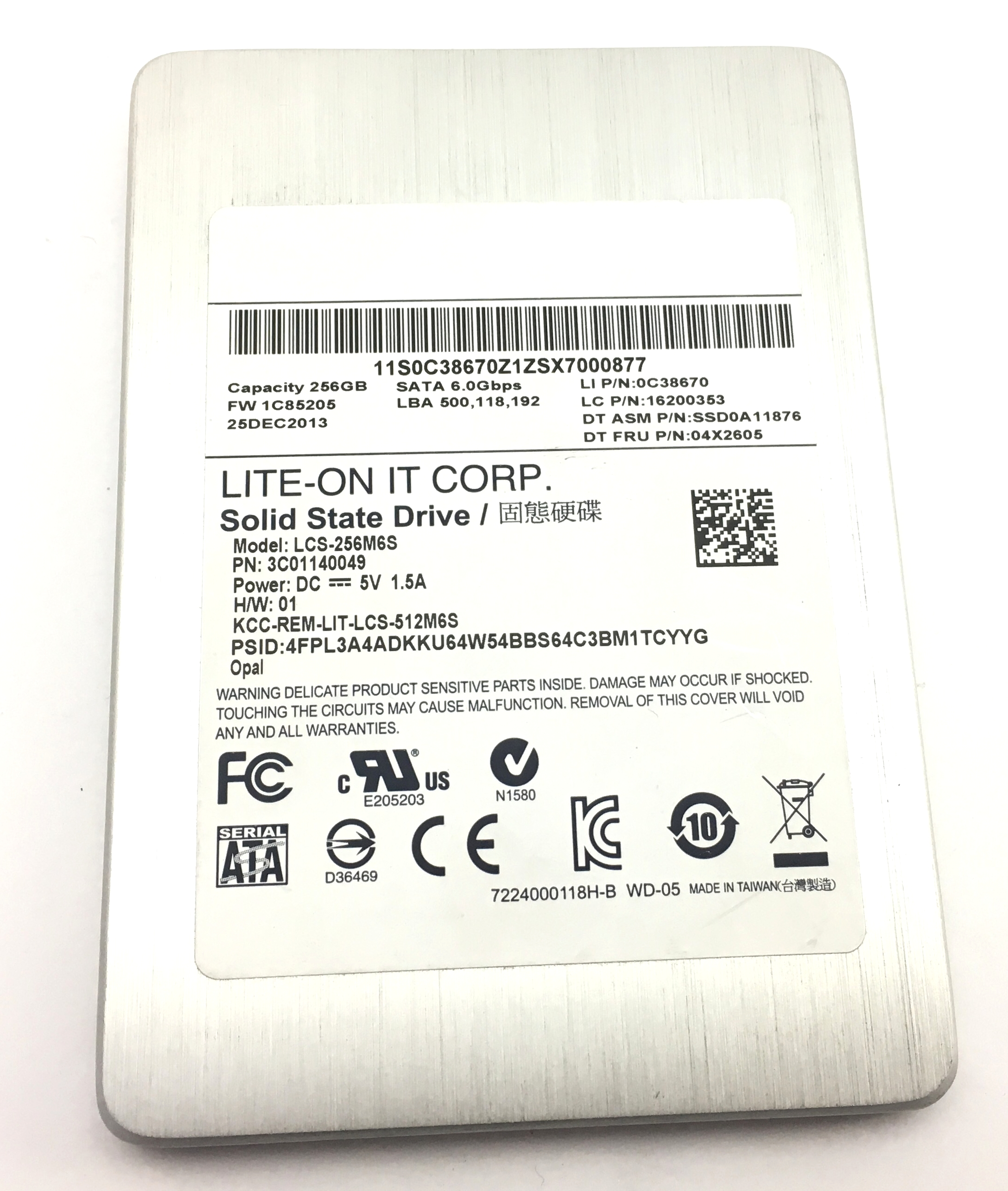 Lenovo Lite-On Lcs-256M6S 256GB 6Gbps SATA 2.5'' SSD Solid State Drive (04X2605)