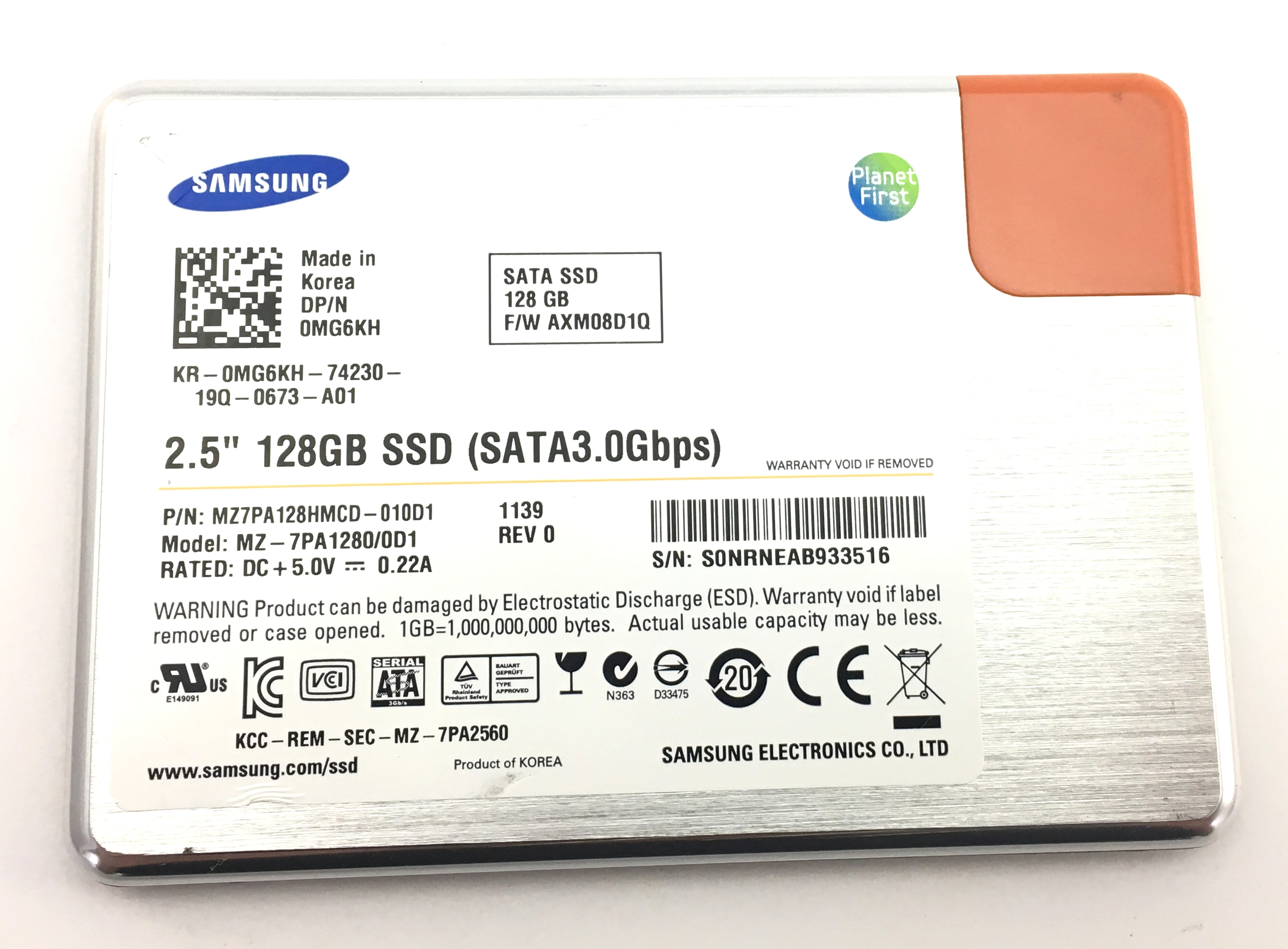 Dell Samsung 128GB 3Gbps SATA 2.5'' SSD Solid State Drive (MG6KH)
