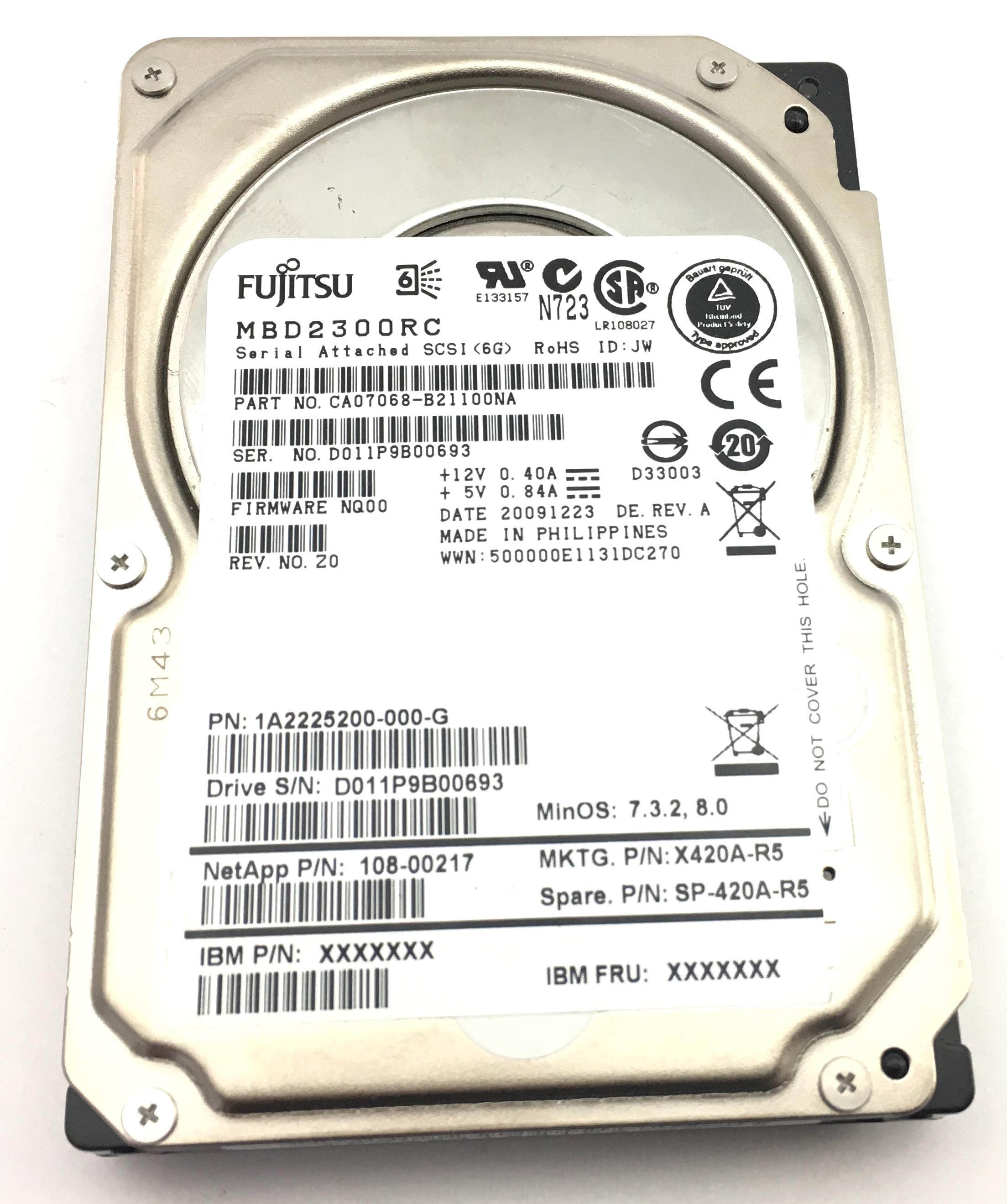 Netapp Fujitsu 300GB 10K 6Gbps SAS 2.5'' Hard Drive (SP-420A-R5)