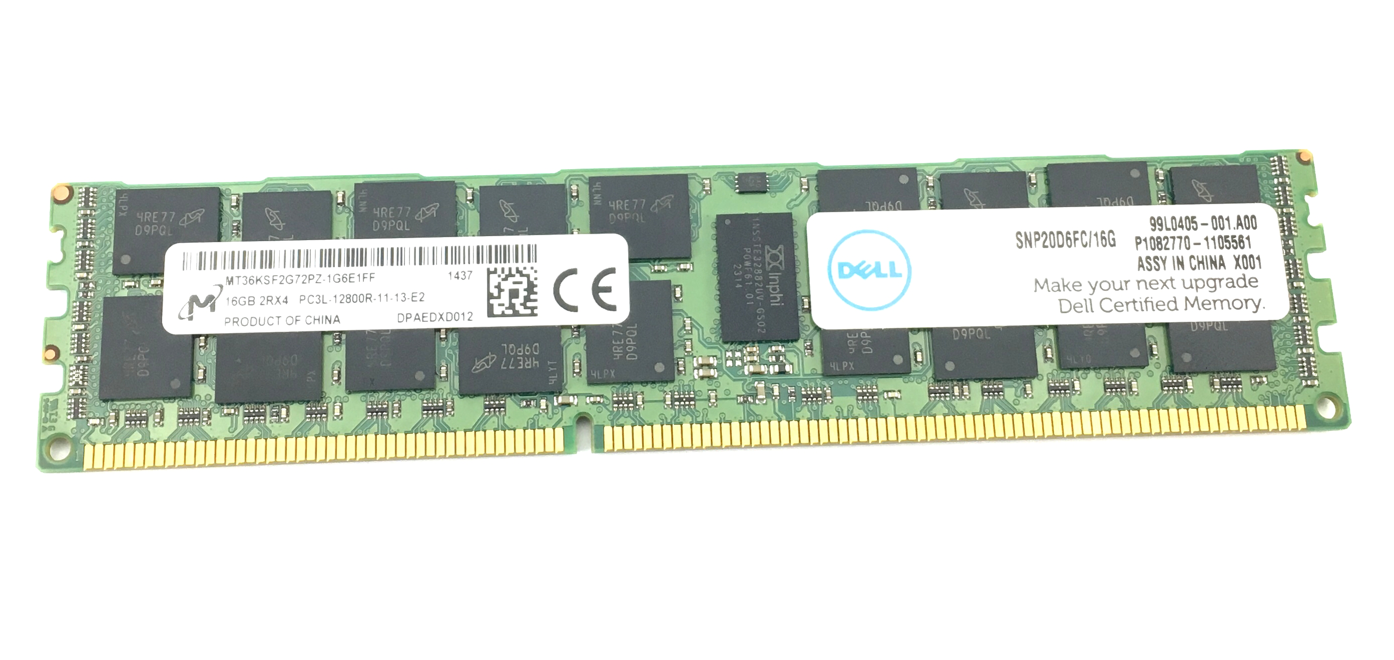 Dell 16GB 2Rx4 PC3L 12800R DDR3 1600MHz ECC REG Memory (SNP20D6FC/16G)