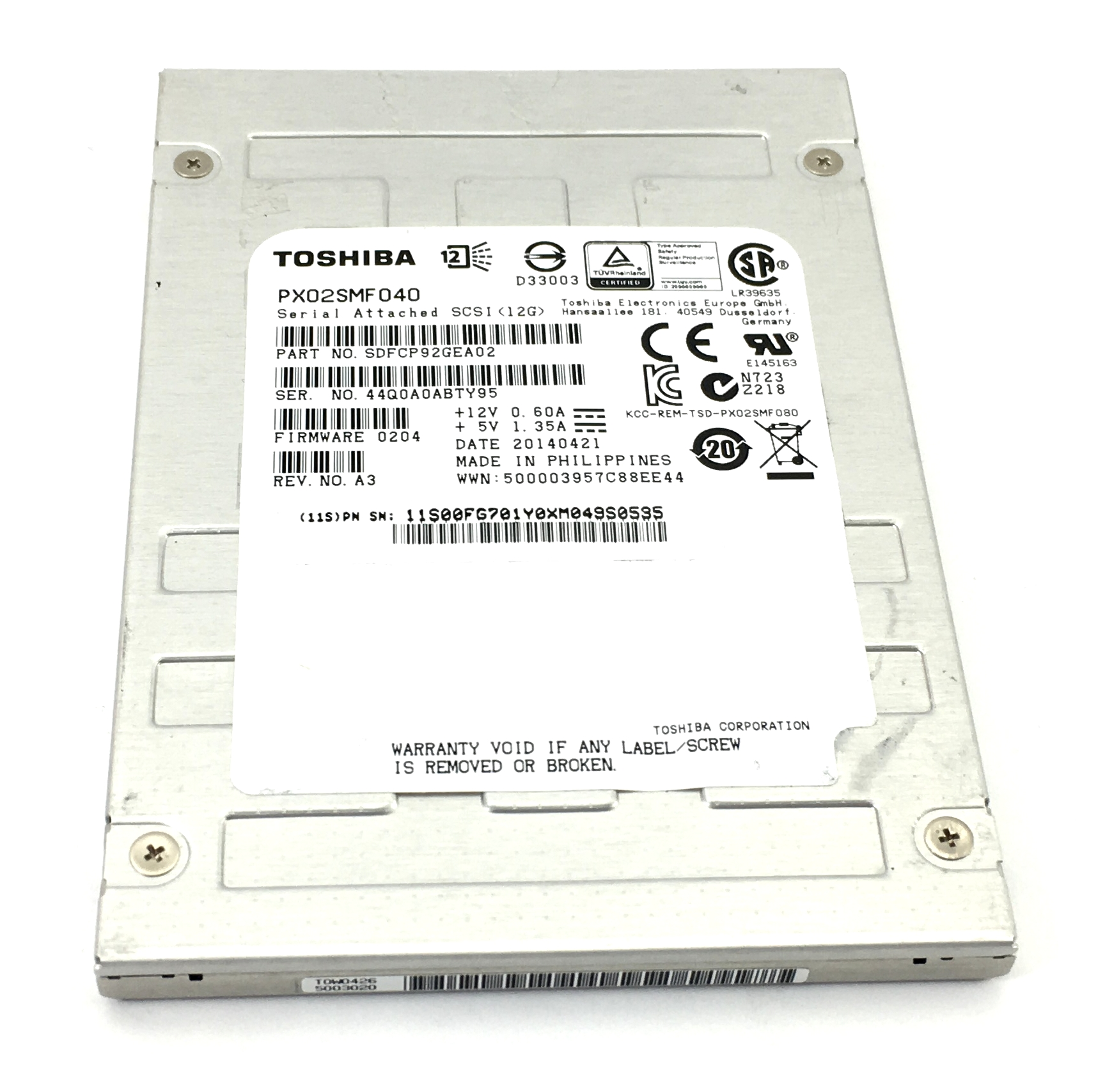 Toshiba PX02SMF040 400GB 12Gbps SAS EMLC Solid State Drive (SDFCP92GEA02)
