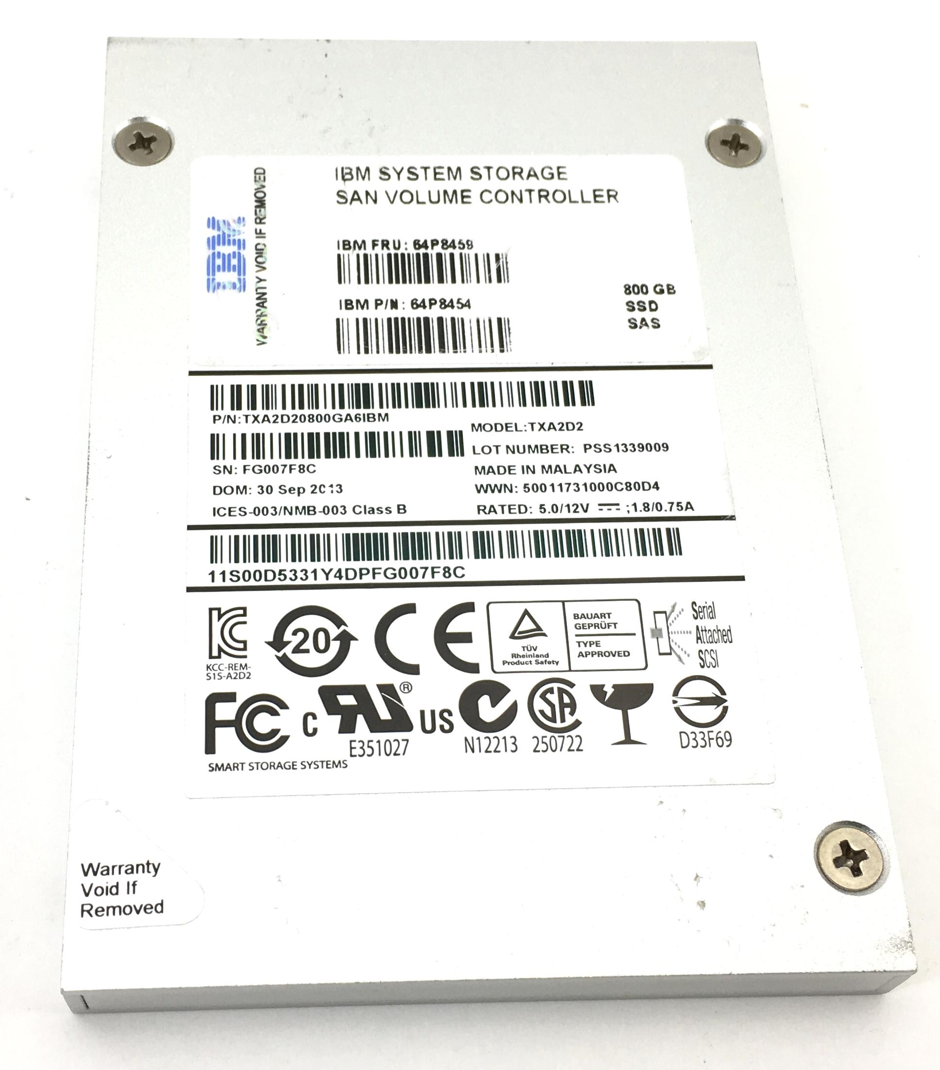 IBM Txa2D2 800Gb 6Gbps SAS 2.5'' SSD Solid State Drive (64P8459)