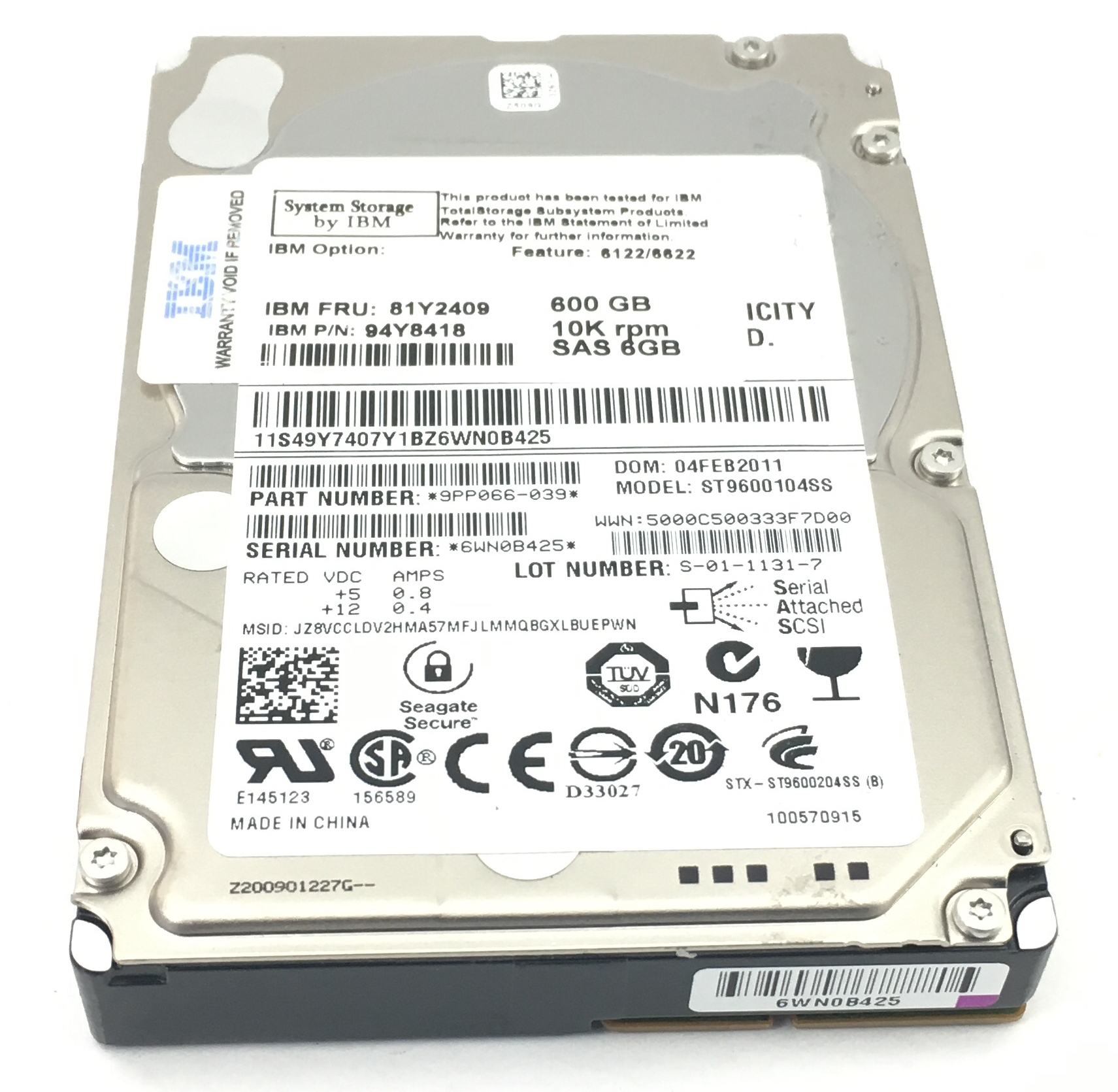 IBM 600GB 10K 6GBPS SAS 2.5'' HARD DRIVE (94Y8418)