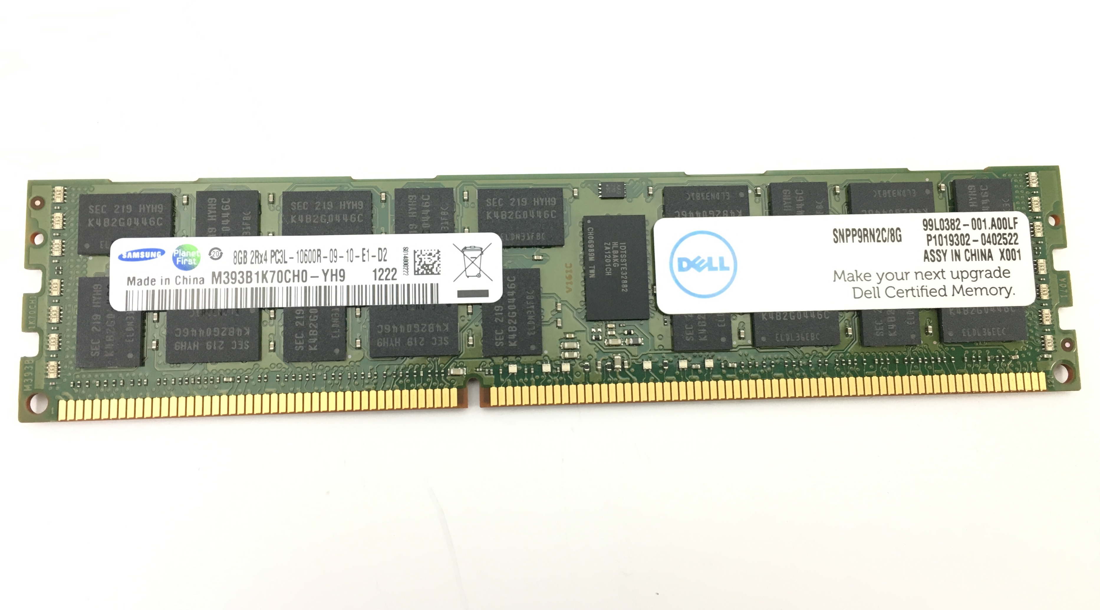 Kingston 8GB 2RX4 PC3L-10600R DDR3 1333MHZ ECC REG MEMORY (SNPP9RN2C/8G)