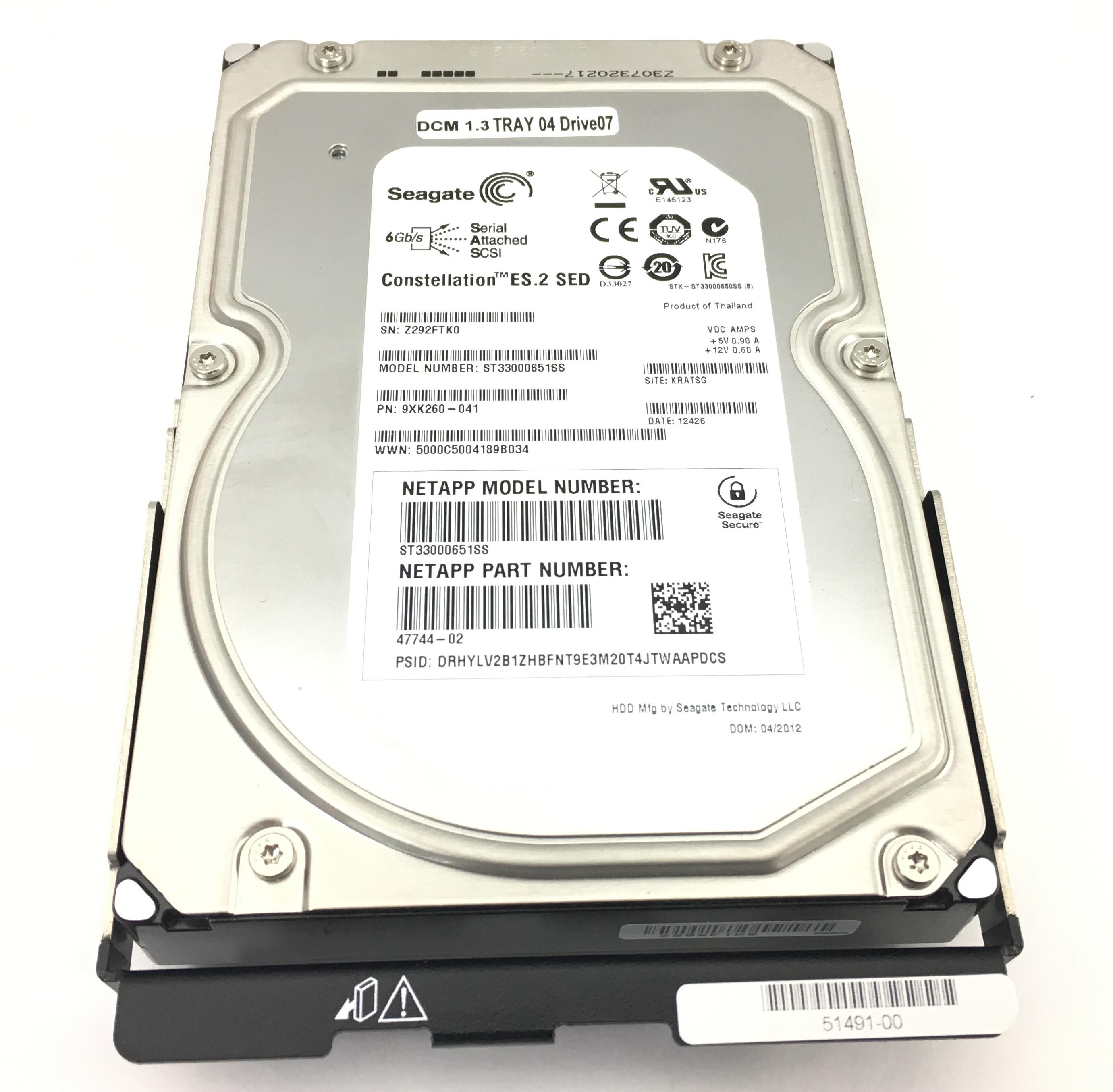 NetApp Seagate 3TB 7.2K 6Gbps SAS 3.5'' SED Hard Drive (47744-02)