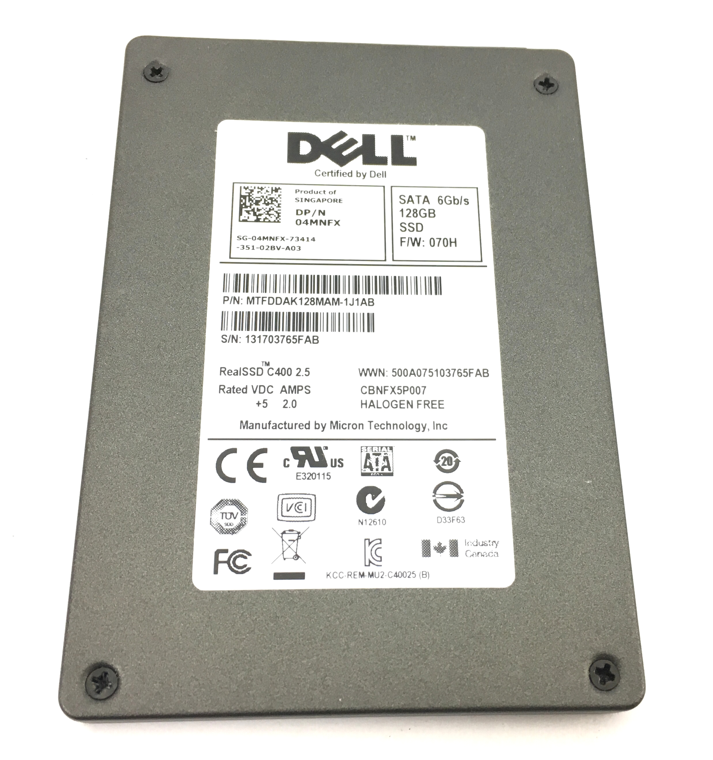 Dell Real SSD C400 128GB 6Gbps SATA 2.5'' Solid State Drive (4MNFX)