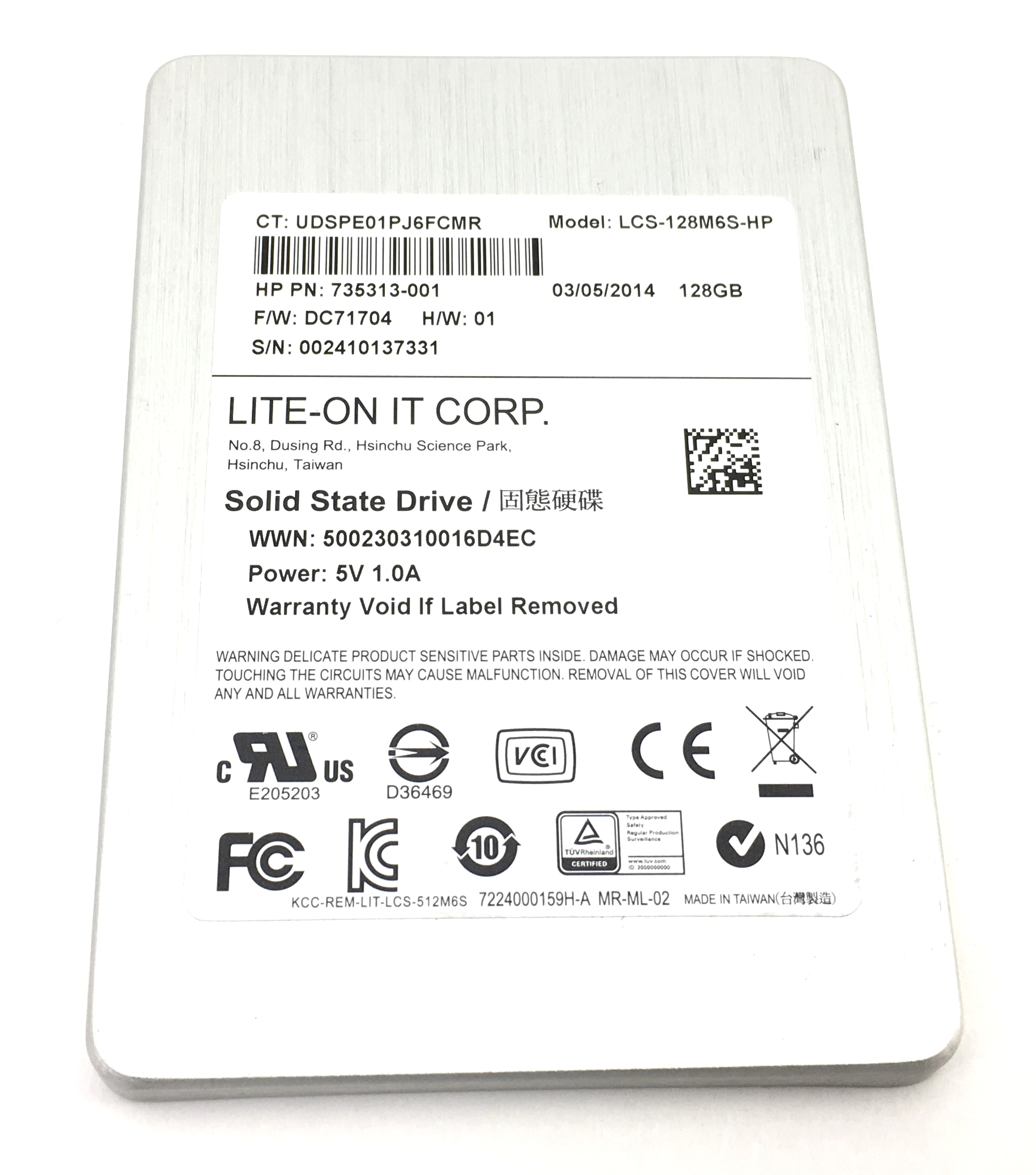 HP Lite-On 128GB SATA 2.5'' SSD Solid State Drive (735313-001)