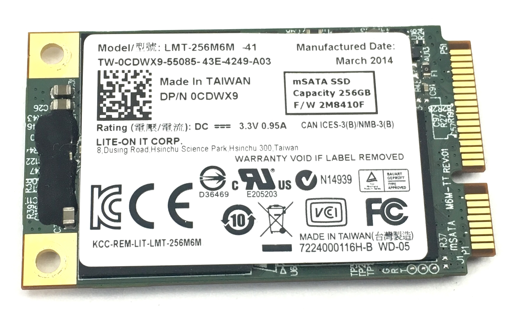 Dell Lite-On Lmt-256M6M 256GB MSATA SSD Solid State Drive (CDWX9)