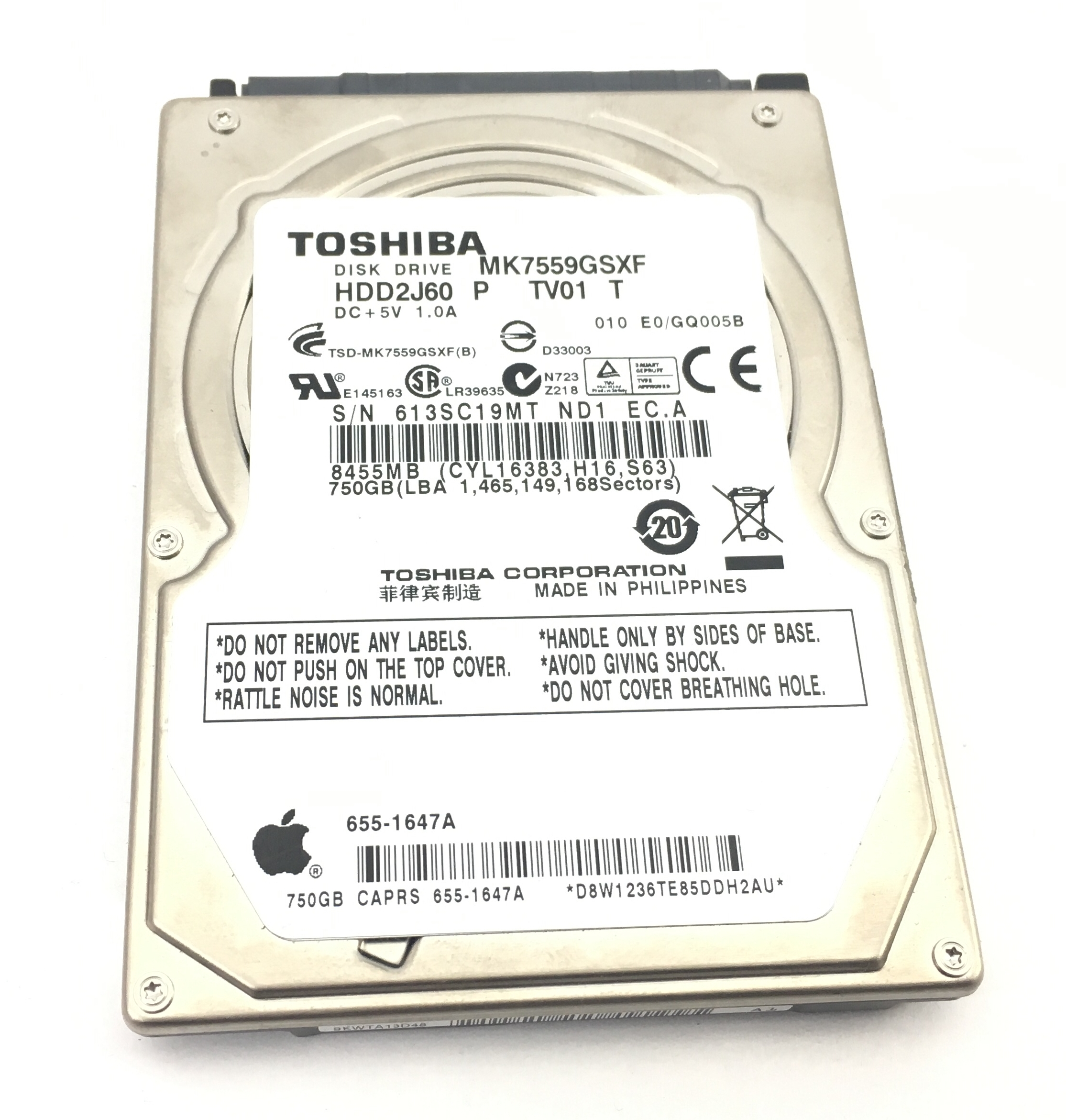 Apple Toshiba 750GB SATA 2.5'' Hard Drive (655-1647A)