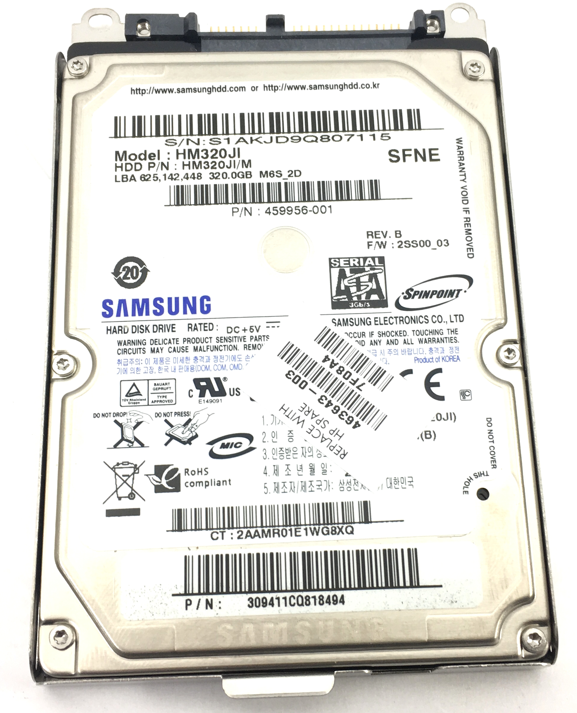 HP Samsung Spinpoint Hm320Ji 320GB 5.4K SATA 2.5'' Hard Drive (463643-003)