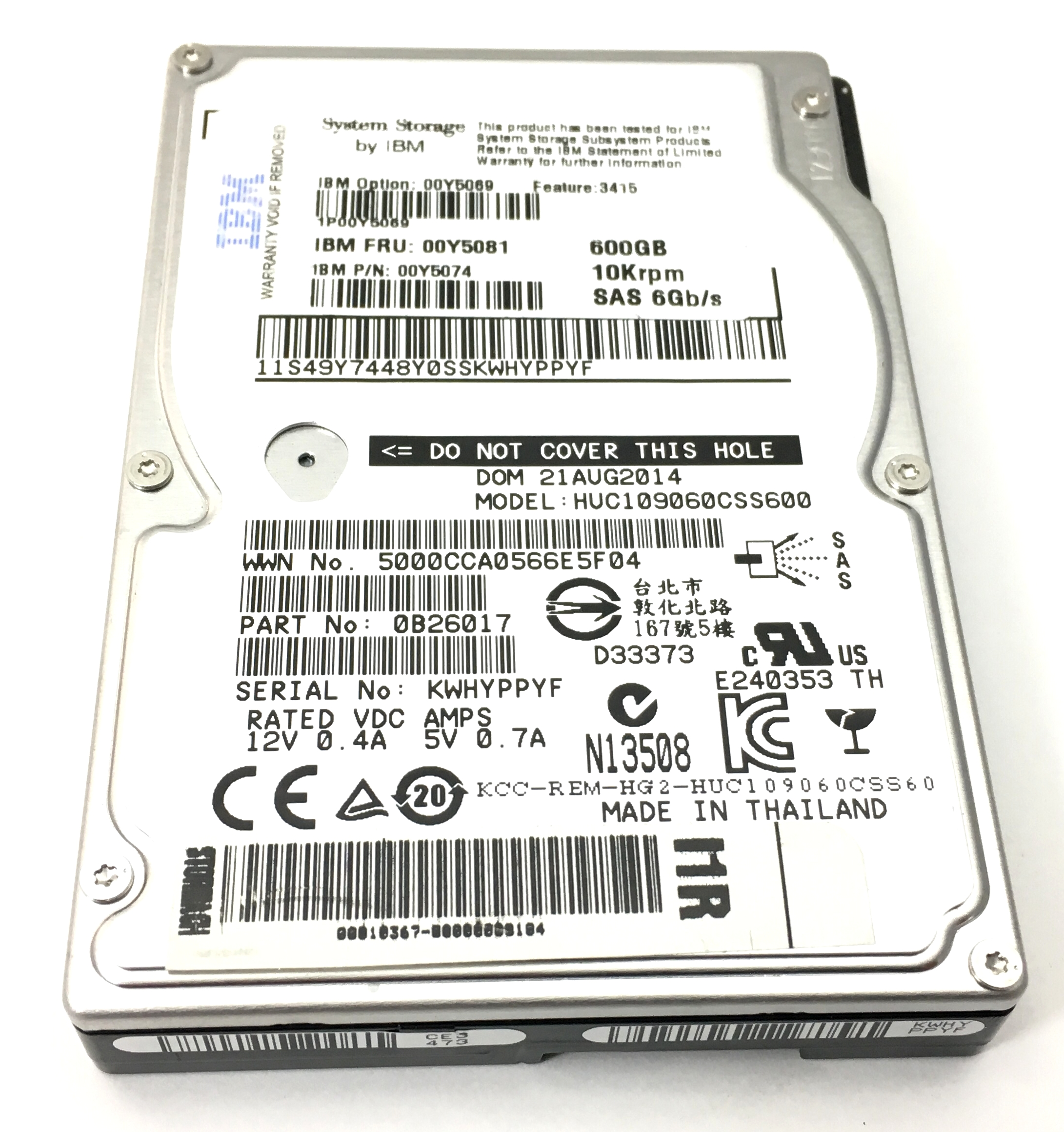 IBM 600GB 10K 6Gbps SAS 2.5'' Hard Drive (00Y5081)