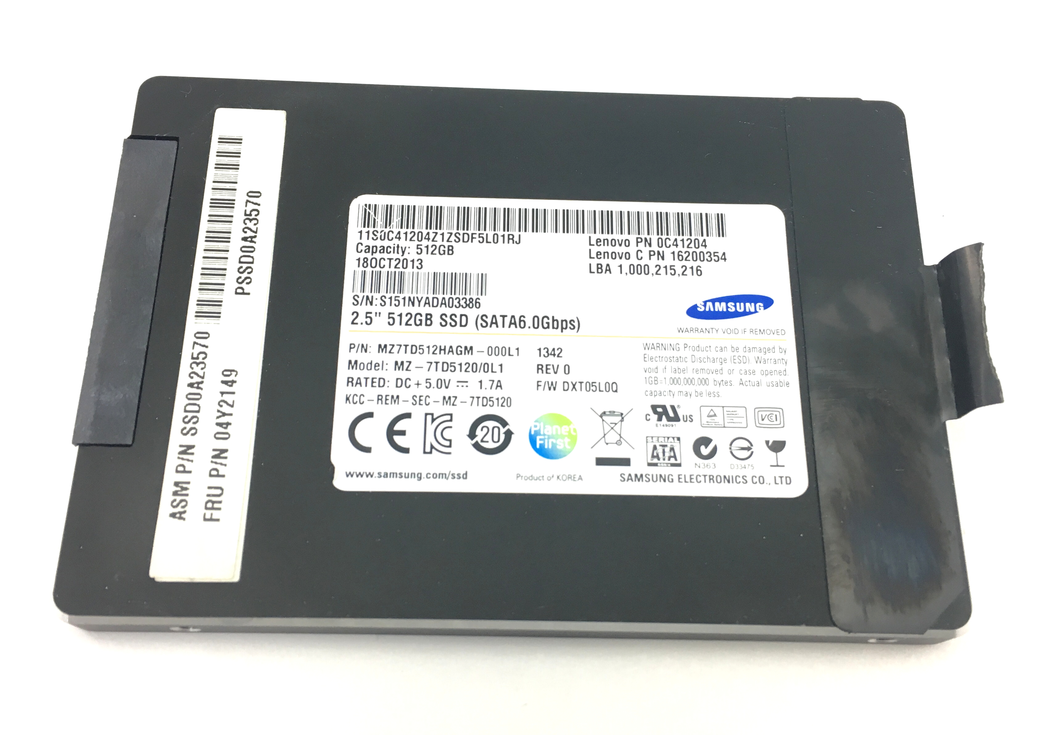 Lenovo 512Gb 6Gbps SATA 2.5'' SSD Solid State Drive (04Y2149)