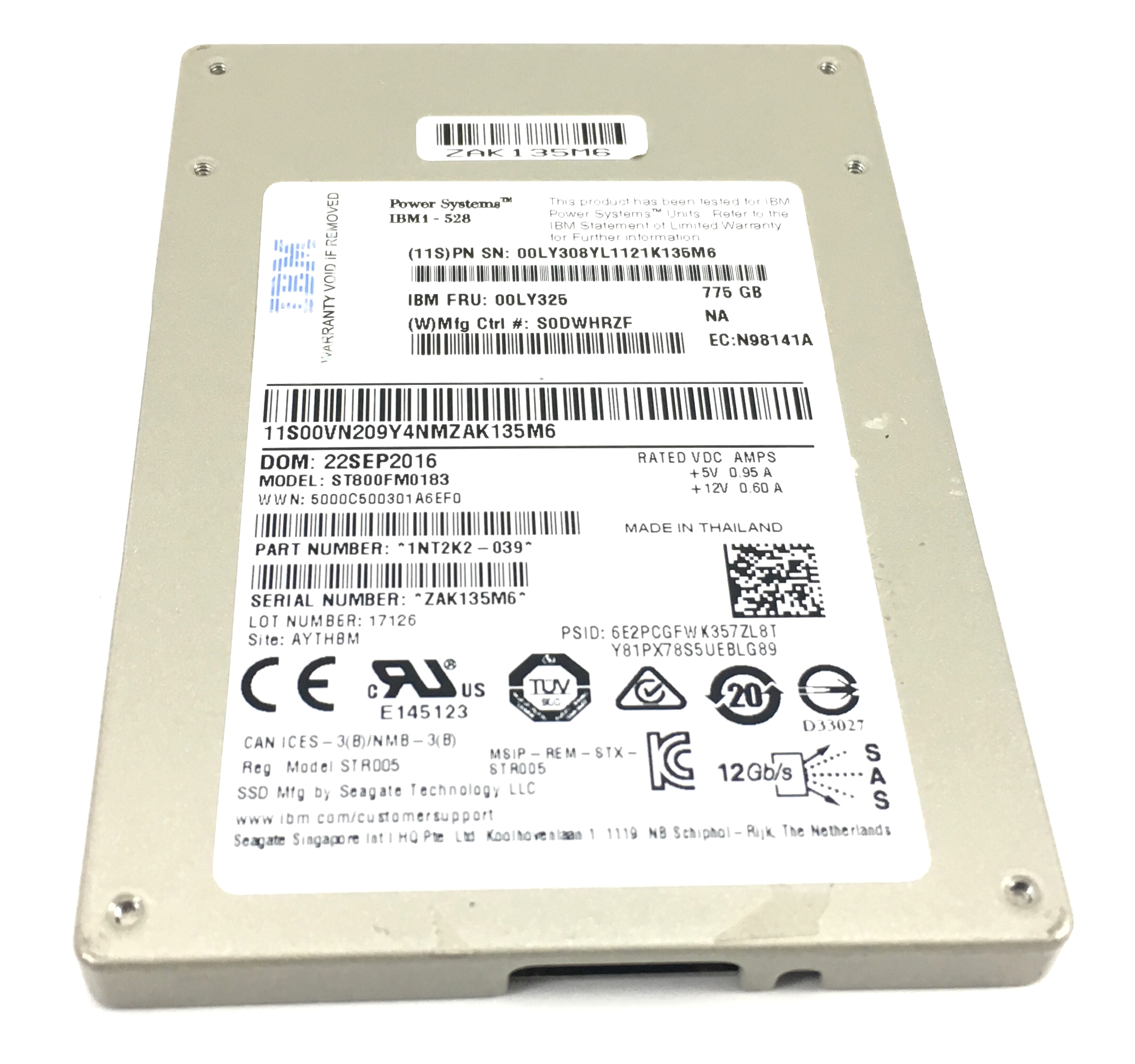 IBM Seagate 775GB 12Gbps SAS 2.5'' SSD SED Solid State Drive (00LY325)
