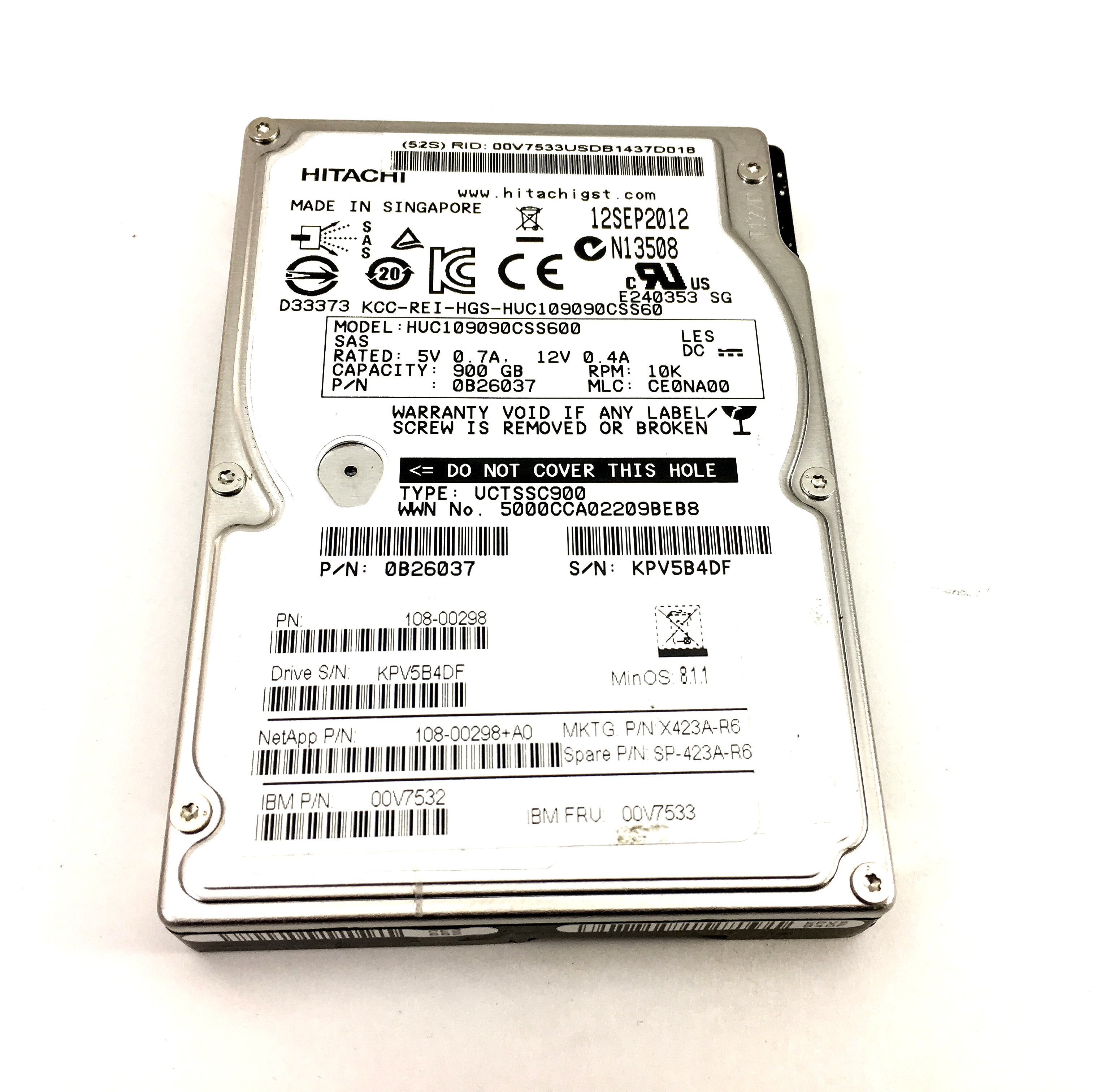 IBM 900GB 10K SAS 2.5'' HARD DRIVE (00V7533)