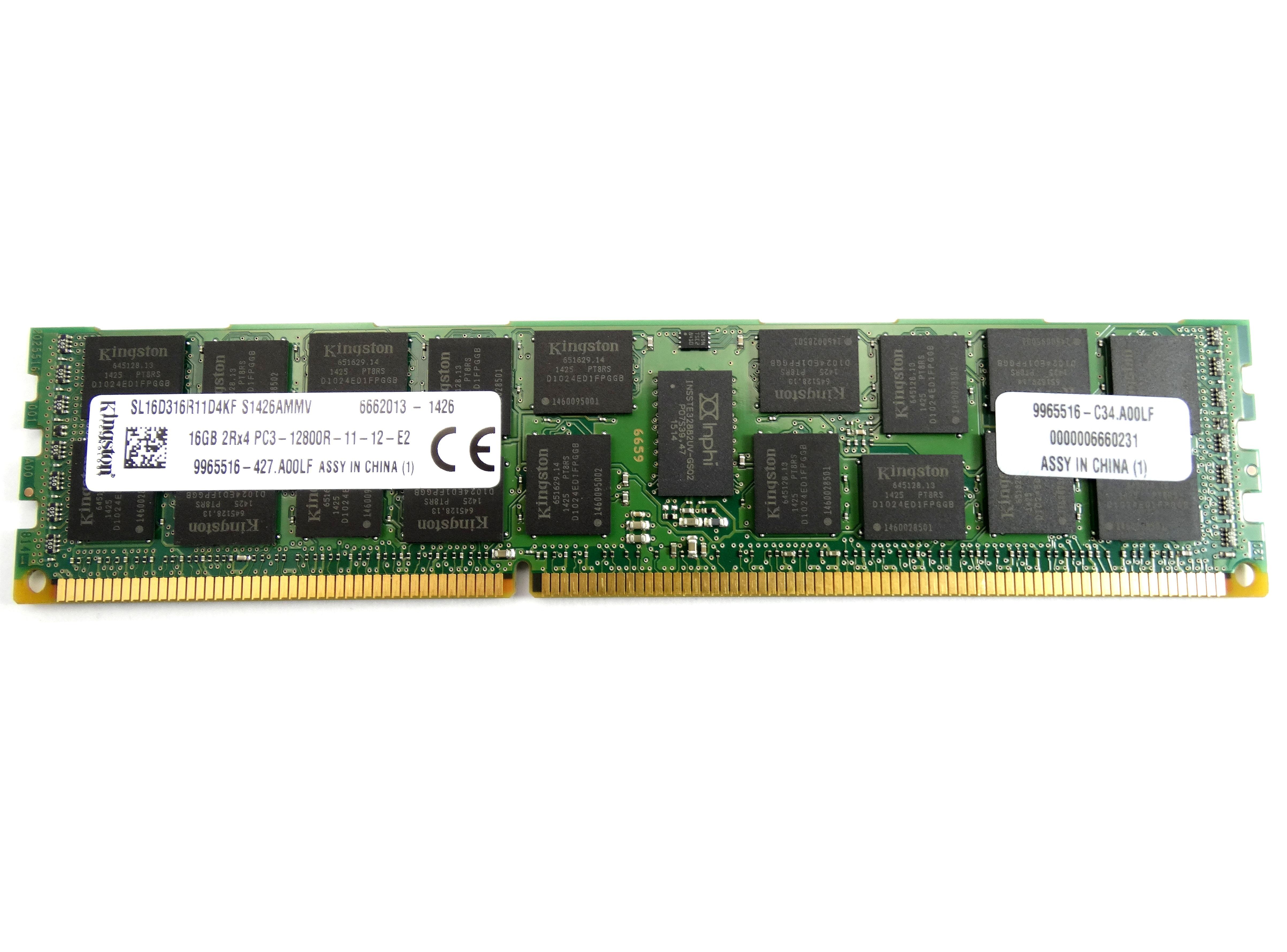Kinston 16GB 2Rx4 PC3-12800R DDR3 1600Mhz ECC REG Memory (9965516-427.A00LF)