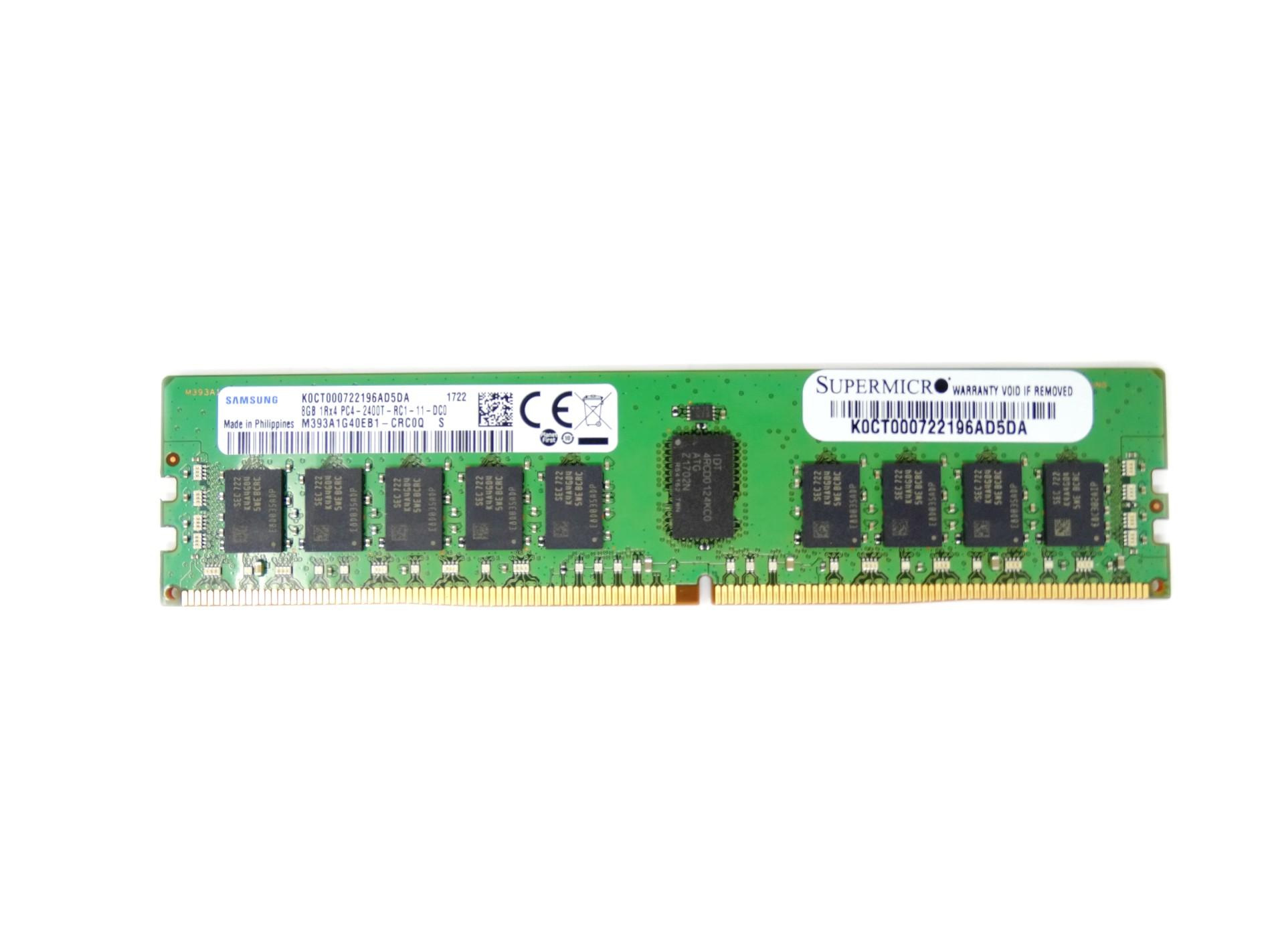 Samsung 8GB 1Rx4 PC4-2400T DDR4 2400MHz ECC Registered RAM Memory (M393A1G40EB1-CRC0Q)