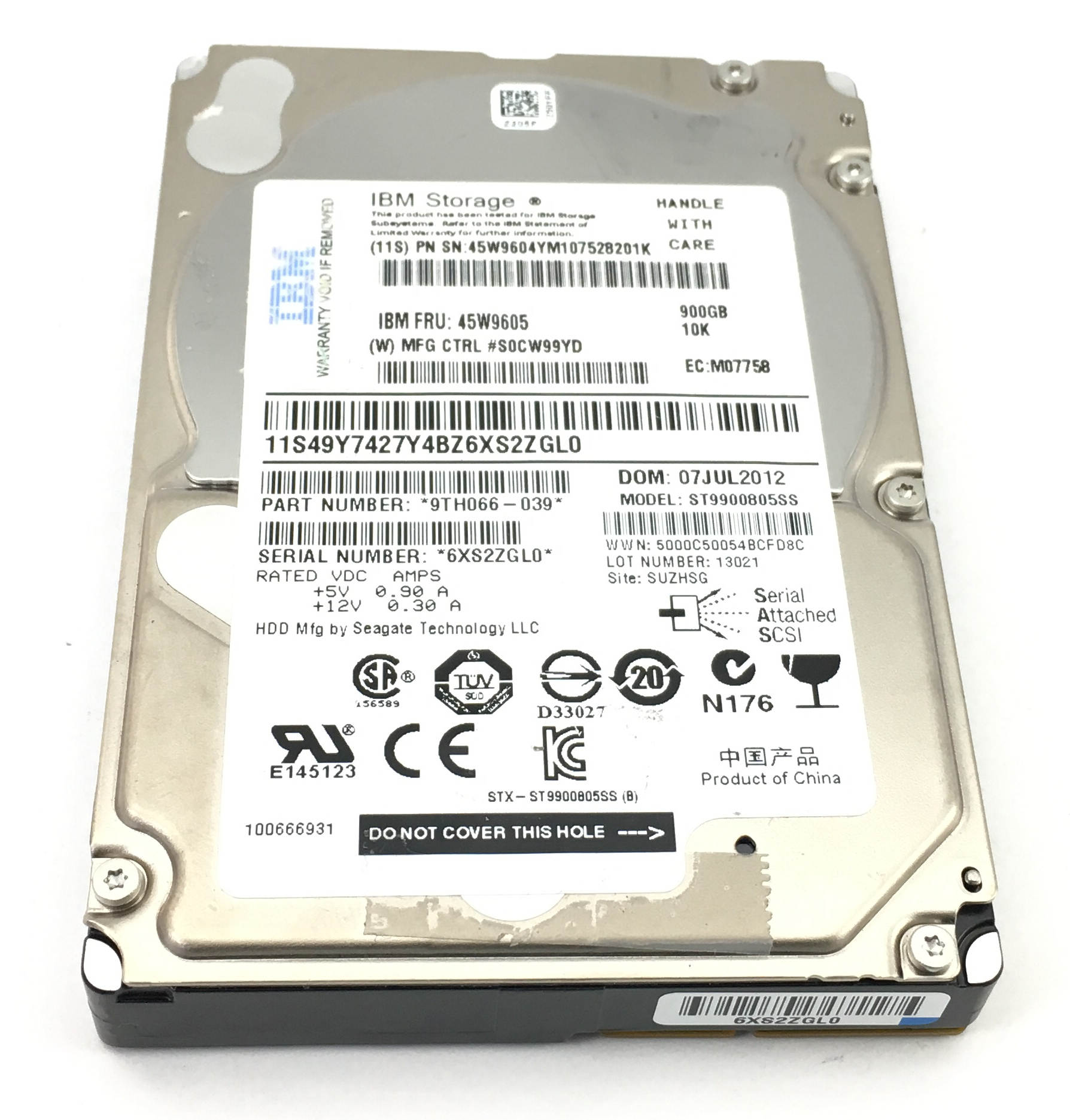 IBM 900GB 10K SAS 2.5'' HARD DRIVE (45W9605)