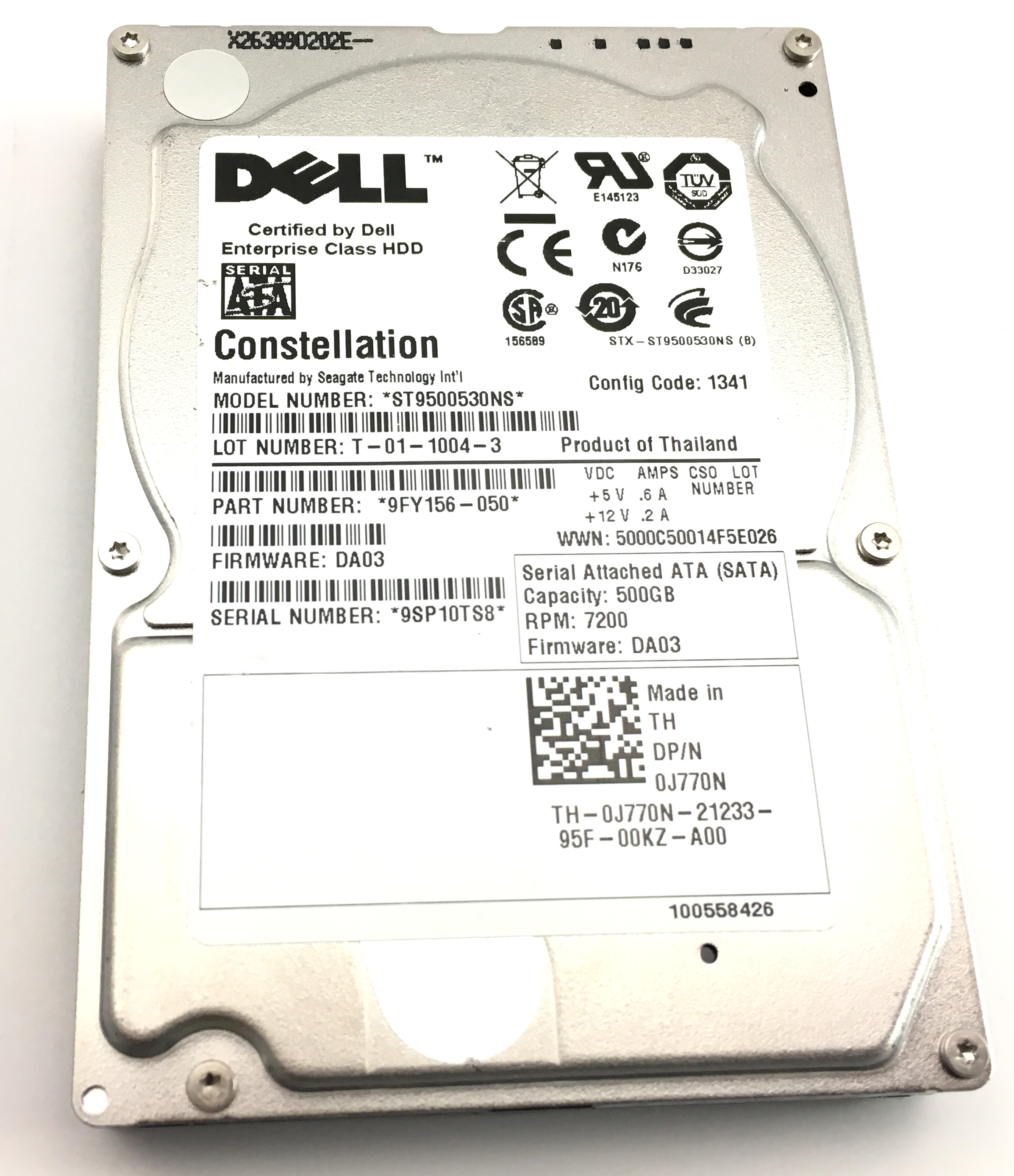 Dell 500GB 7.2K 3Gbps SATA 2.5'' Hard Drive (0J770N)