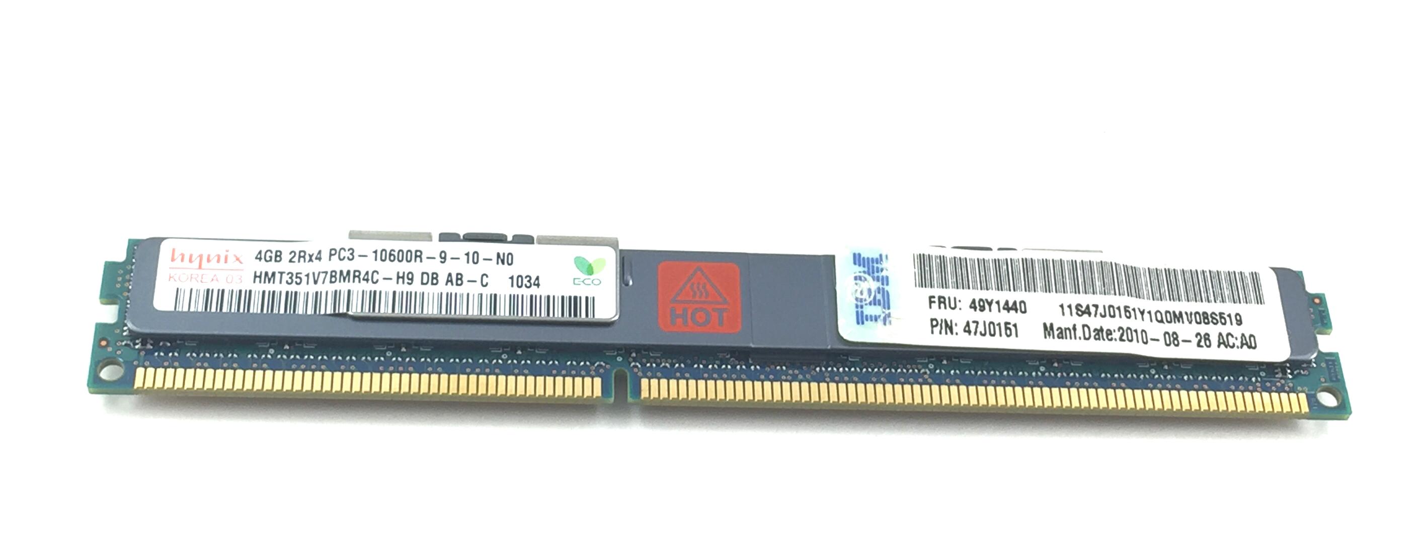IBM 4GB 2R X 4 PC3-10600R Vlp ECC REG Memory (49Y1440)