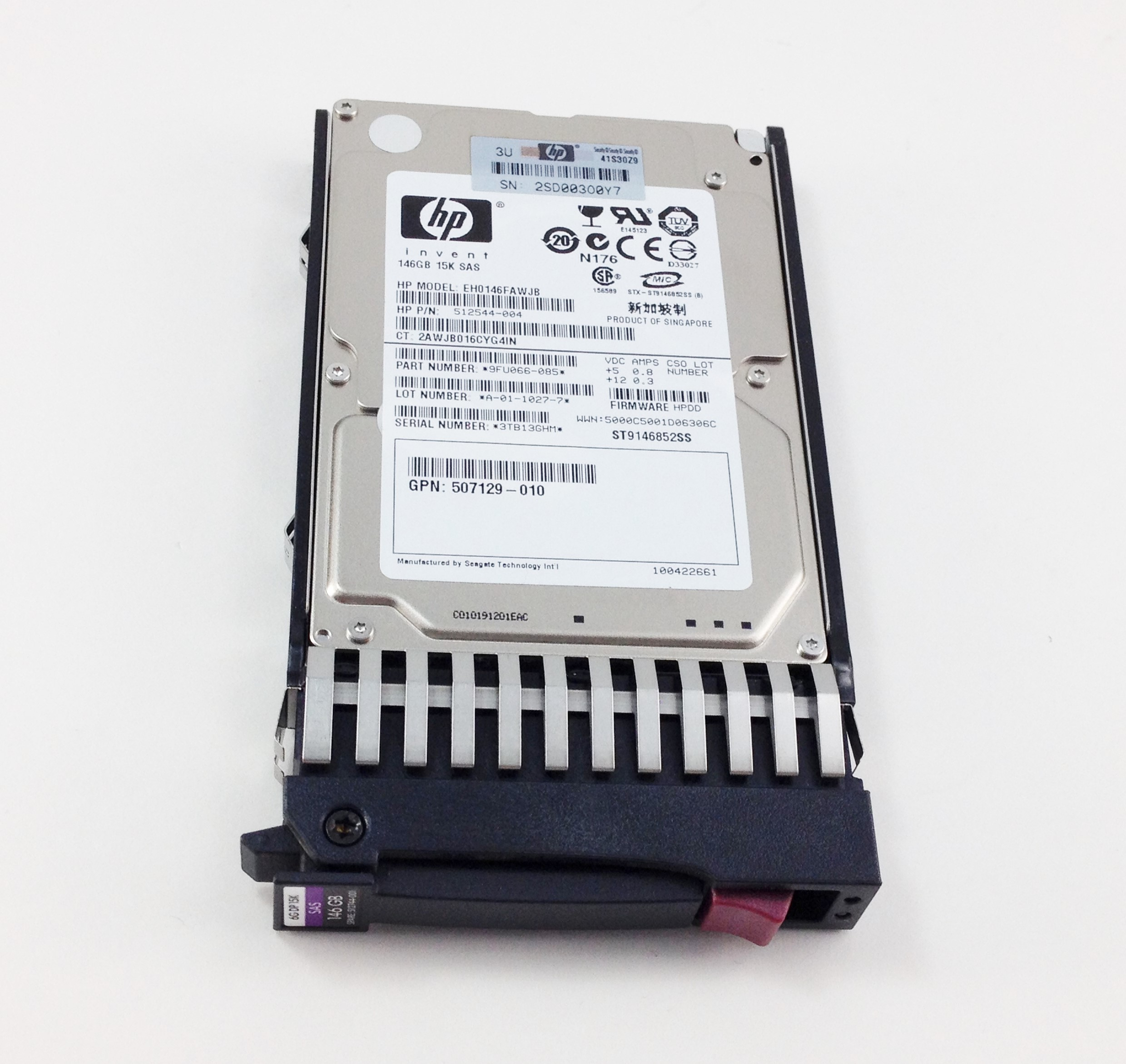 HP 146GB 15K SAS 6G 2.5'' SFF Hard Drive W/ Tray (512544-004)