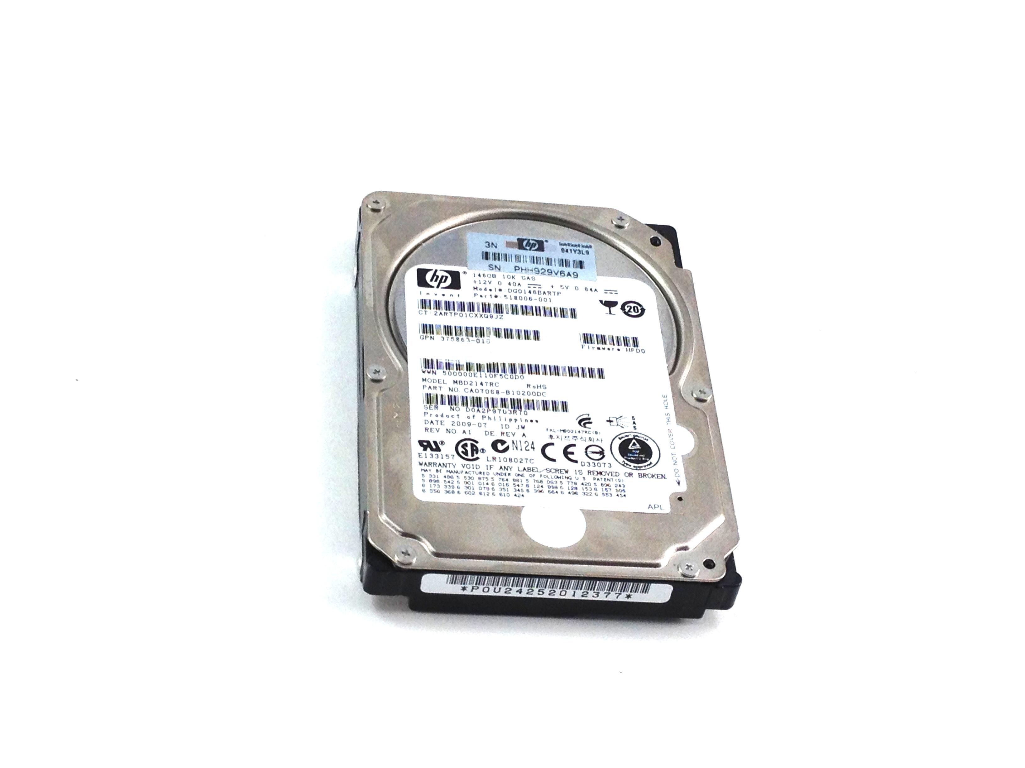 HP 146GB 10K SAS 2.5'' 2 Port Hard Drive (518006-001)