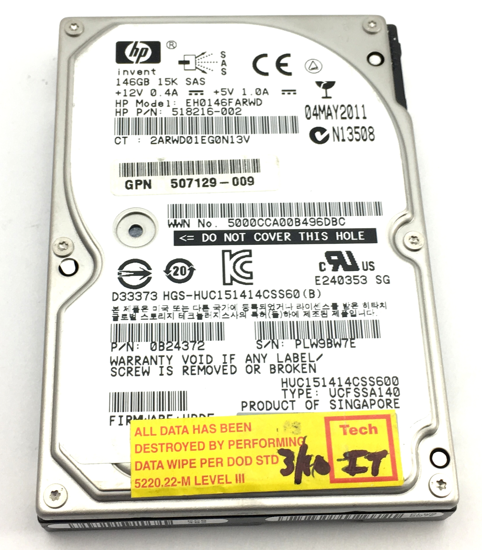 HP 146GB 15K SAS 6Gbp 2.5'' Hard Drive (518216-002)