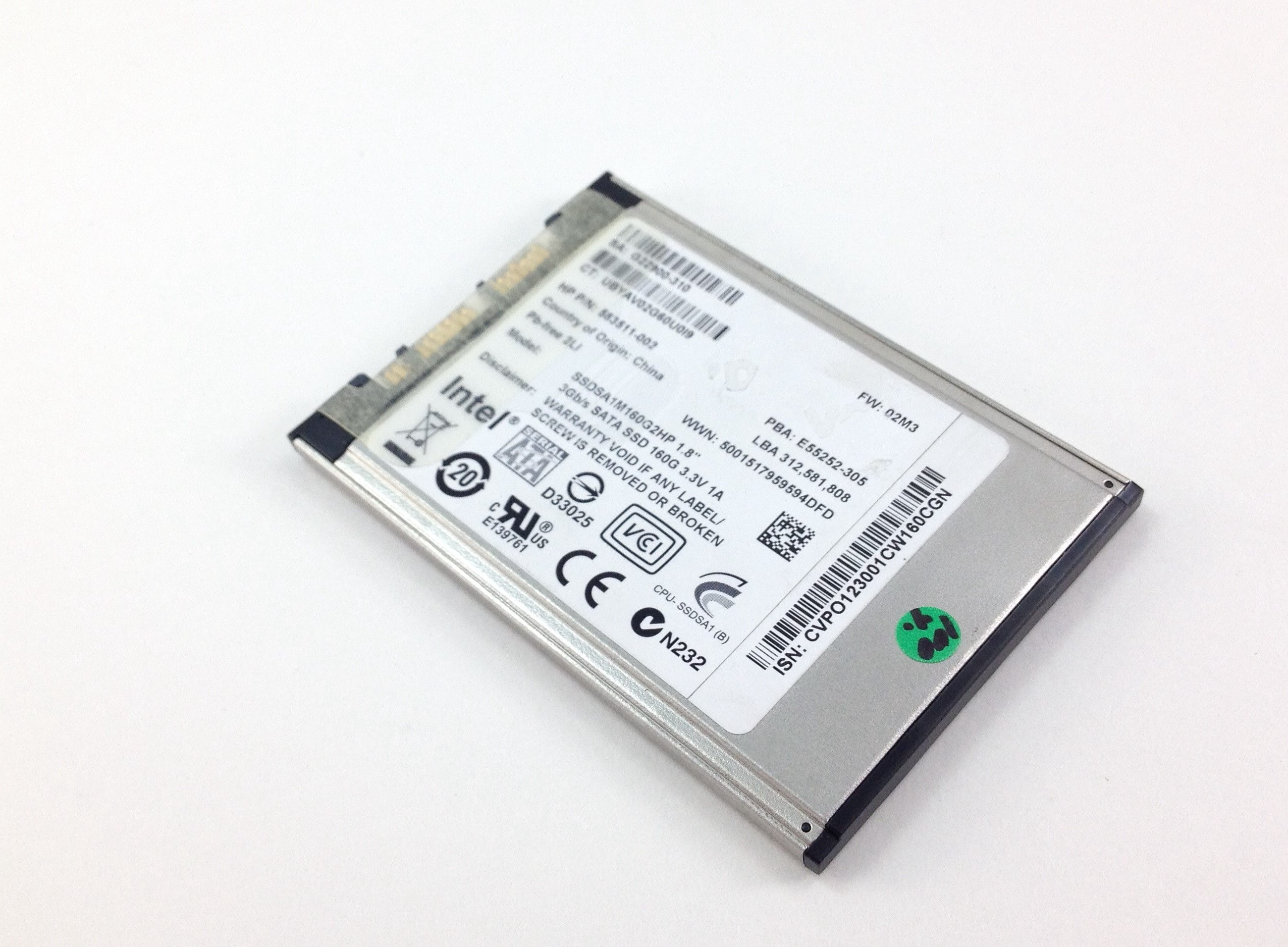 HP 160GB 3Gbps SATA 1.8'' Solid State Drive SSD (598782-001)