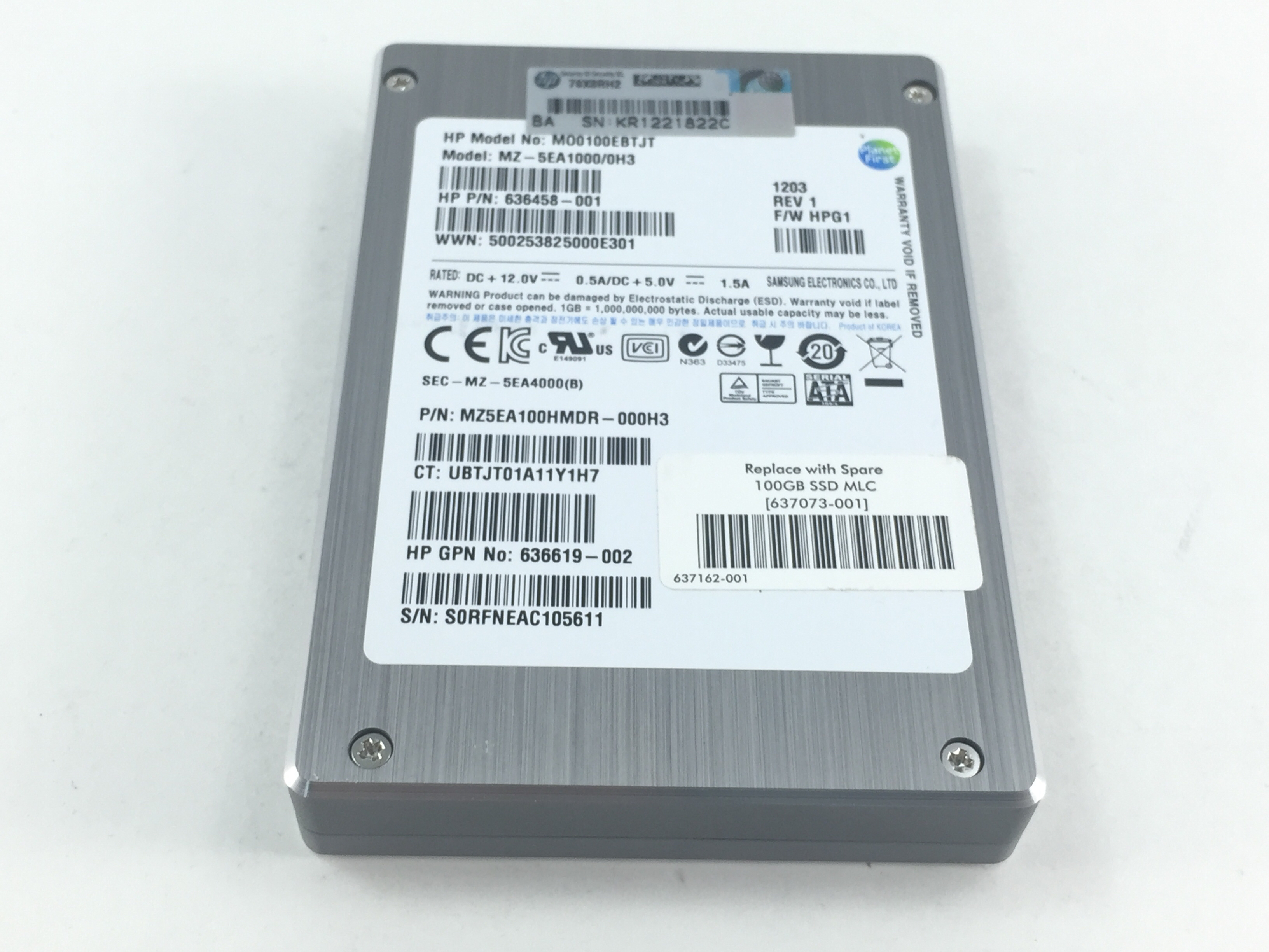 HP 100GB 3GBPS SATA 2.5'' SOLID STATE DRIVE SSD (636458-001)