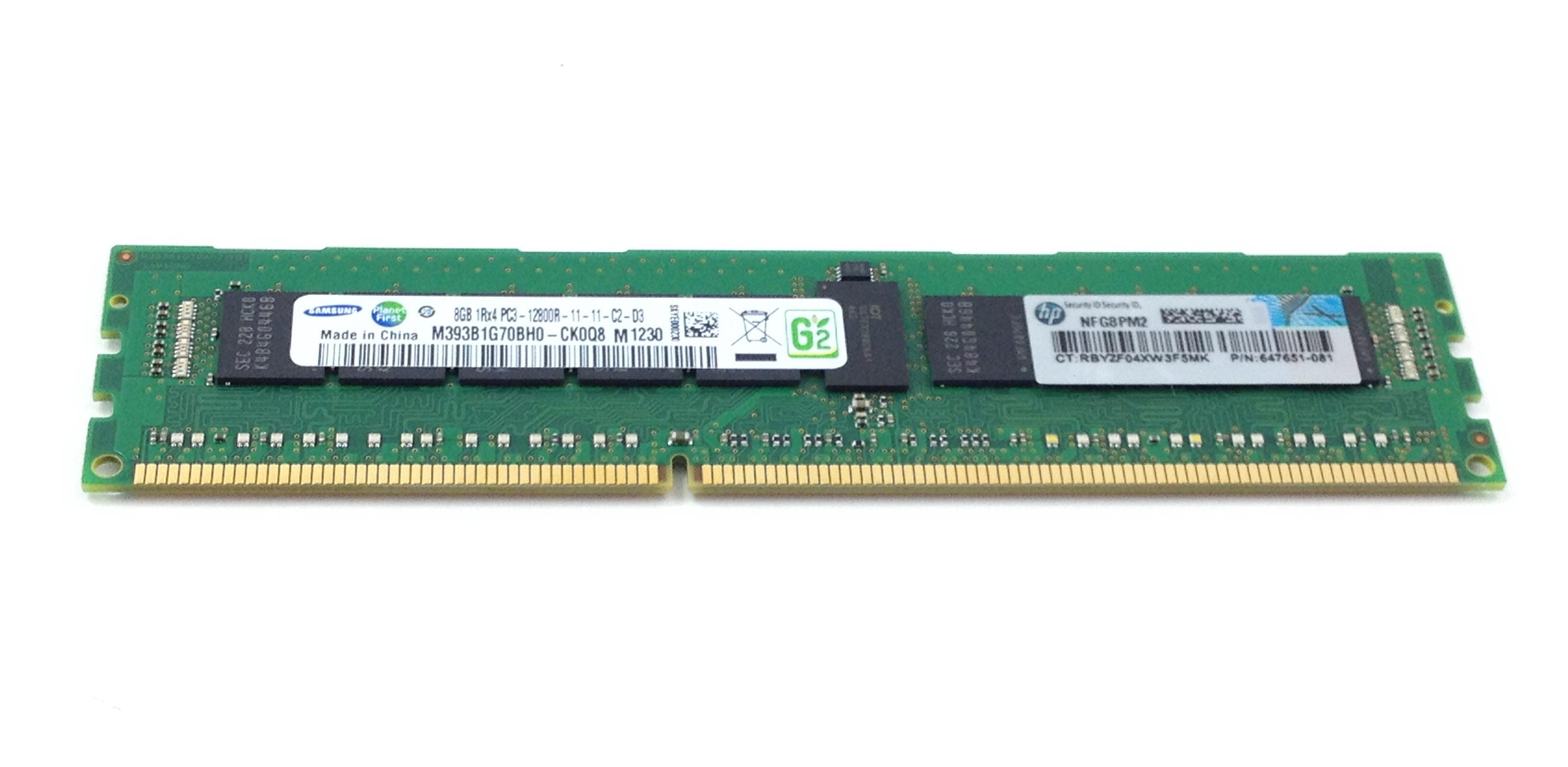 HP 8GB 1RX4 PC3-12800R DDR3 ECC REGD MEMORY. (647899-B21)