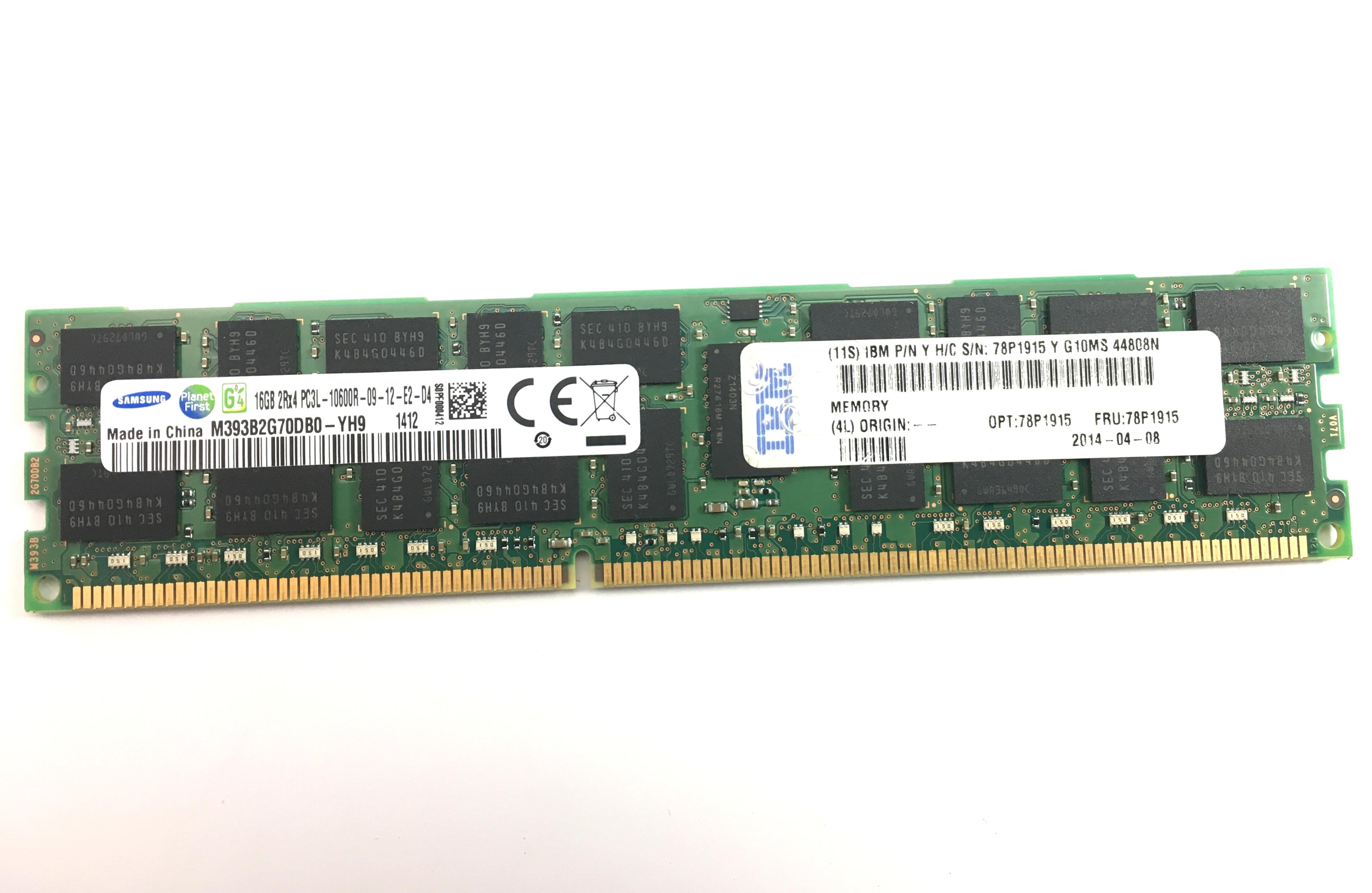 IBM 16GB 2Rx4 PC3L-10600R DDR3 1333MHz ECC Registered Memory (78P1915)