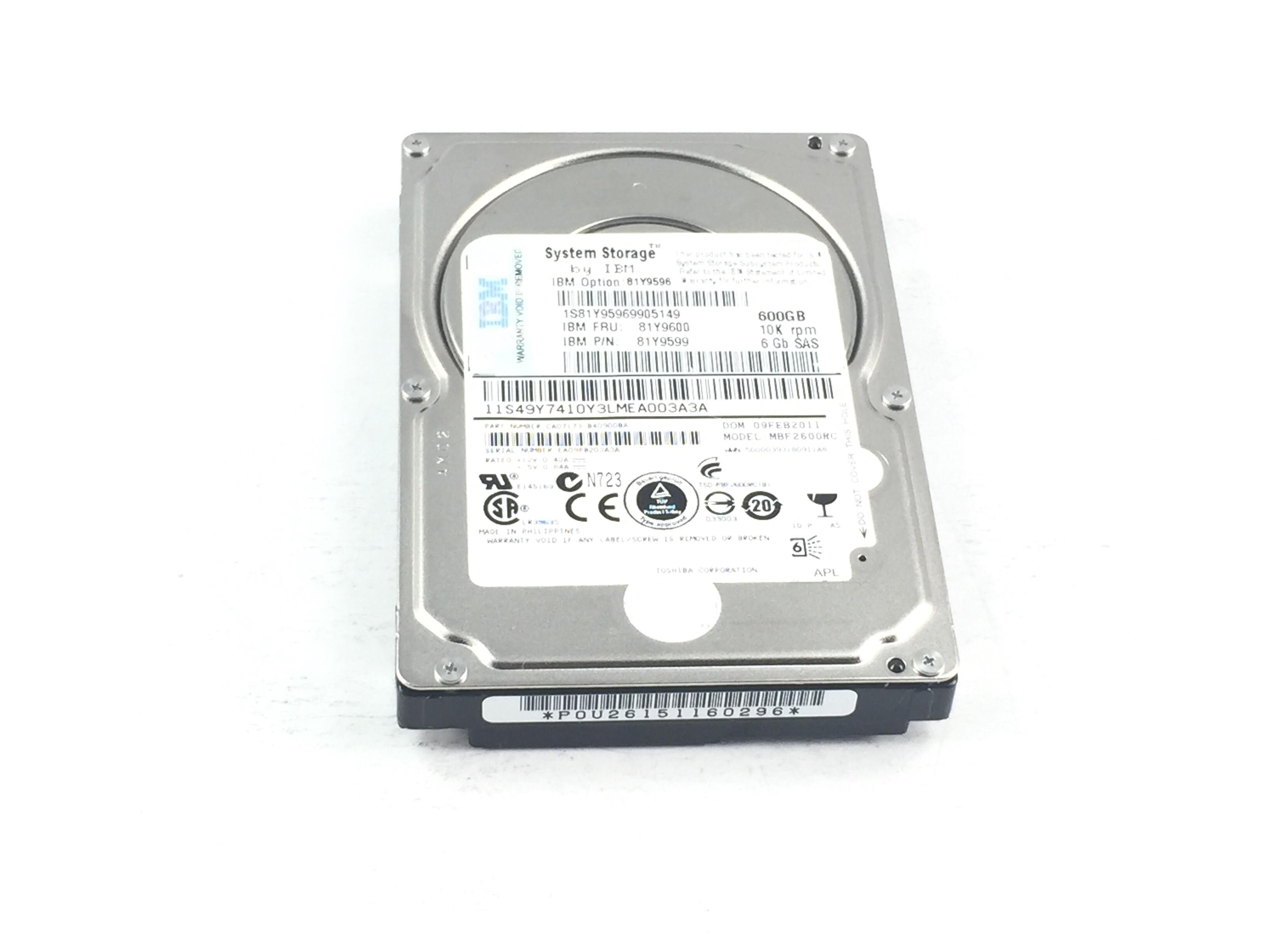 IBM 600GB 10K 6GBPS SAS 2.5'' HARD DRIVE (81Y9600)